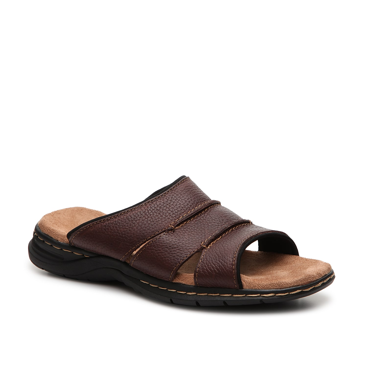 If you\\\'re looking for a simple, casual leather sandal that\\\'s high on comfort and style, the Gordon slide sandal with comfort footbed from Dr. Scholl\\\'s is it.
