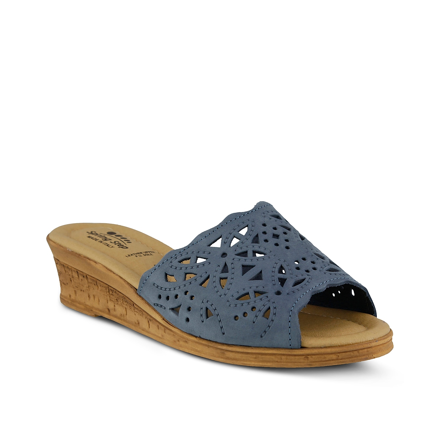 Sweet and summery, the Spring Step Estella wedges are the perfect slide sandals to pair with all of your casual warm weather looks. With feminine cutouts and an easy slip on design, these comfortable leather sandals are a must-have!