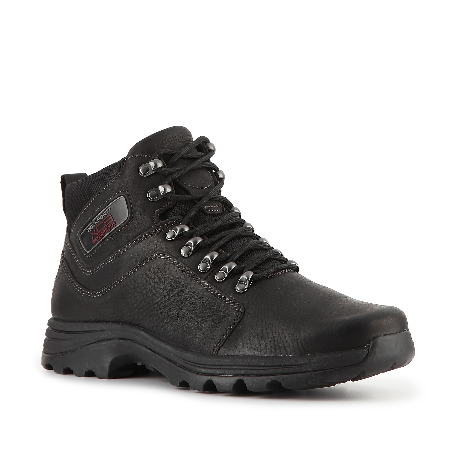 Rugged and comfortable, the men\\\'s Elkhart mid-top hiking boot from Rockport XCS will keep your feet relaxed over any terrain. With a waterproof leather upper and a traction outsole, this lace-up will help you tackle any trail with ease.