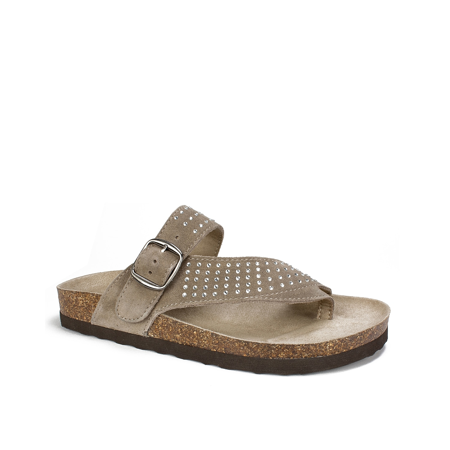 Slip on these comfortable slides to complete your warm weather look. With rhinestone embellishments and a soft suede construction, the White Mountain Coaster is the perfect sandal to update to your casual summer wardrobe!