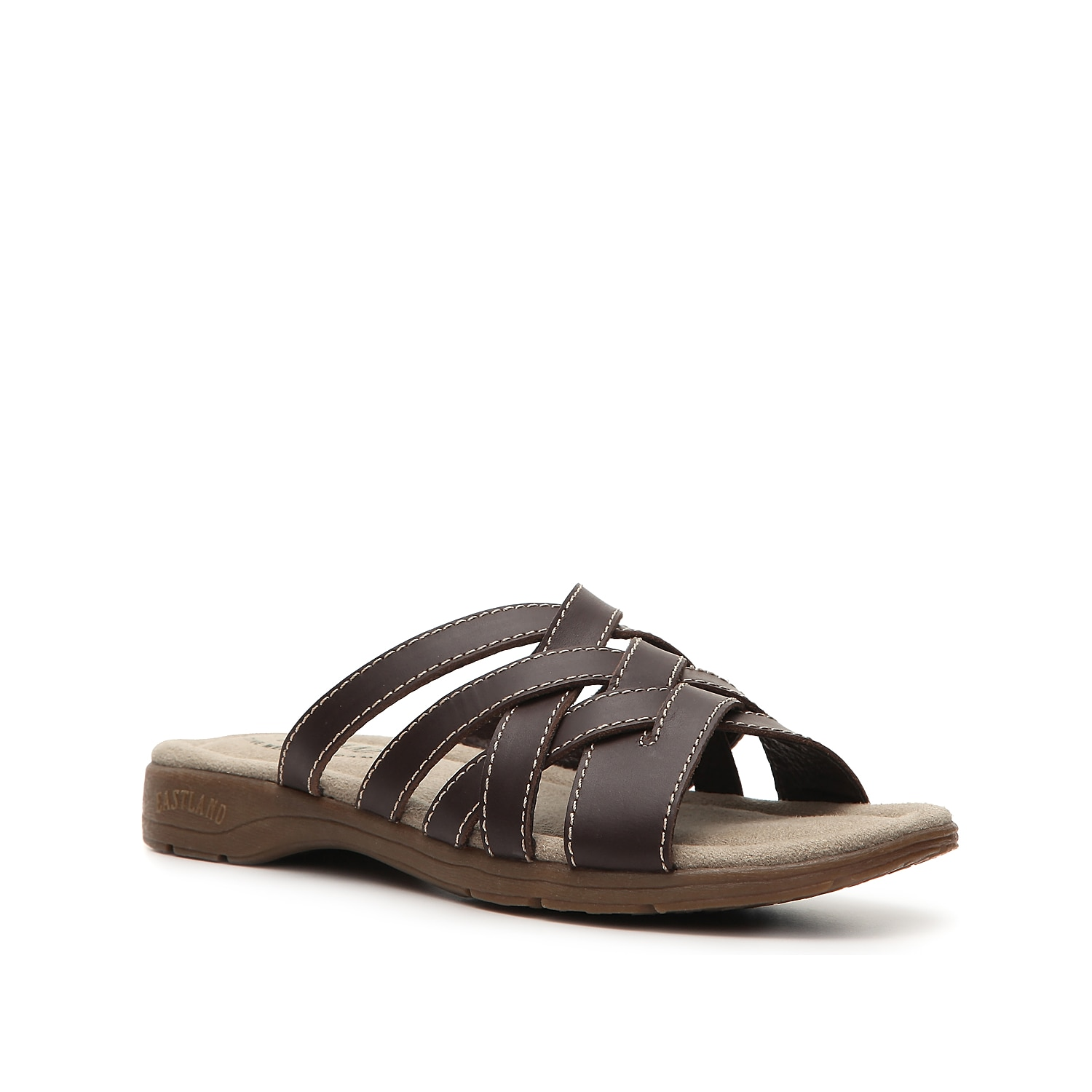 Slip on a woven leather sandal designed for both comfort and style! With a plush memory foam footbed, the Eastland Hazel slide sandals are the perfect flat sandals for all day casual wear.