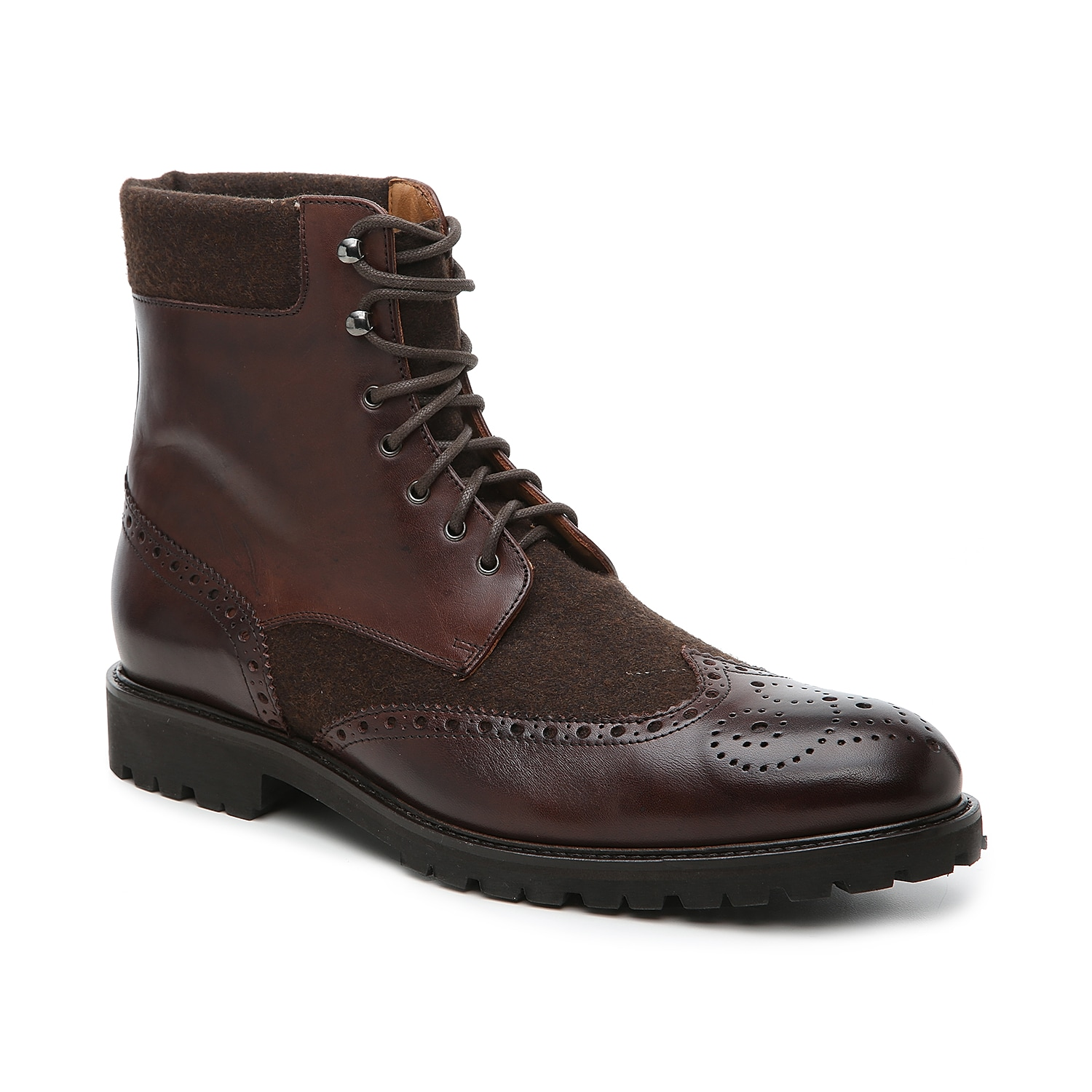 Handsome and stylish, these two-tone boots from Mercanti Fiorentini are sure to impress! These Italian-made lace-ups that are expertly designed with a wingtip toe, perforated brogue details, and a mixed upper of leather and tailored fabric.