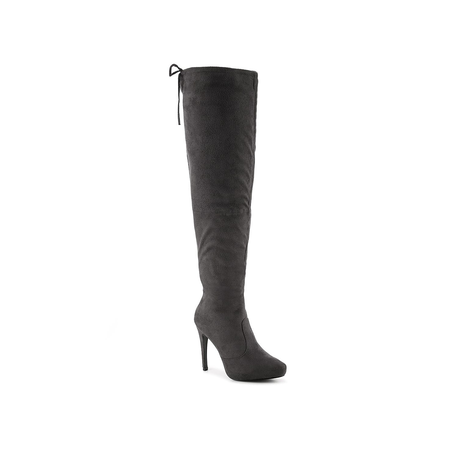 Strut your sophisticated style in the Magic over the knee boots from Journee Collection. With the chic platform and knee high silhouette, these high heel boots are sure to make a powerful statement!Click here for Boot Measuring Guide.
