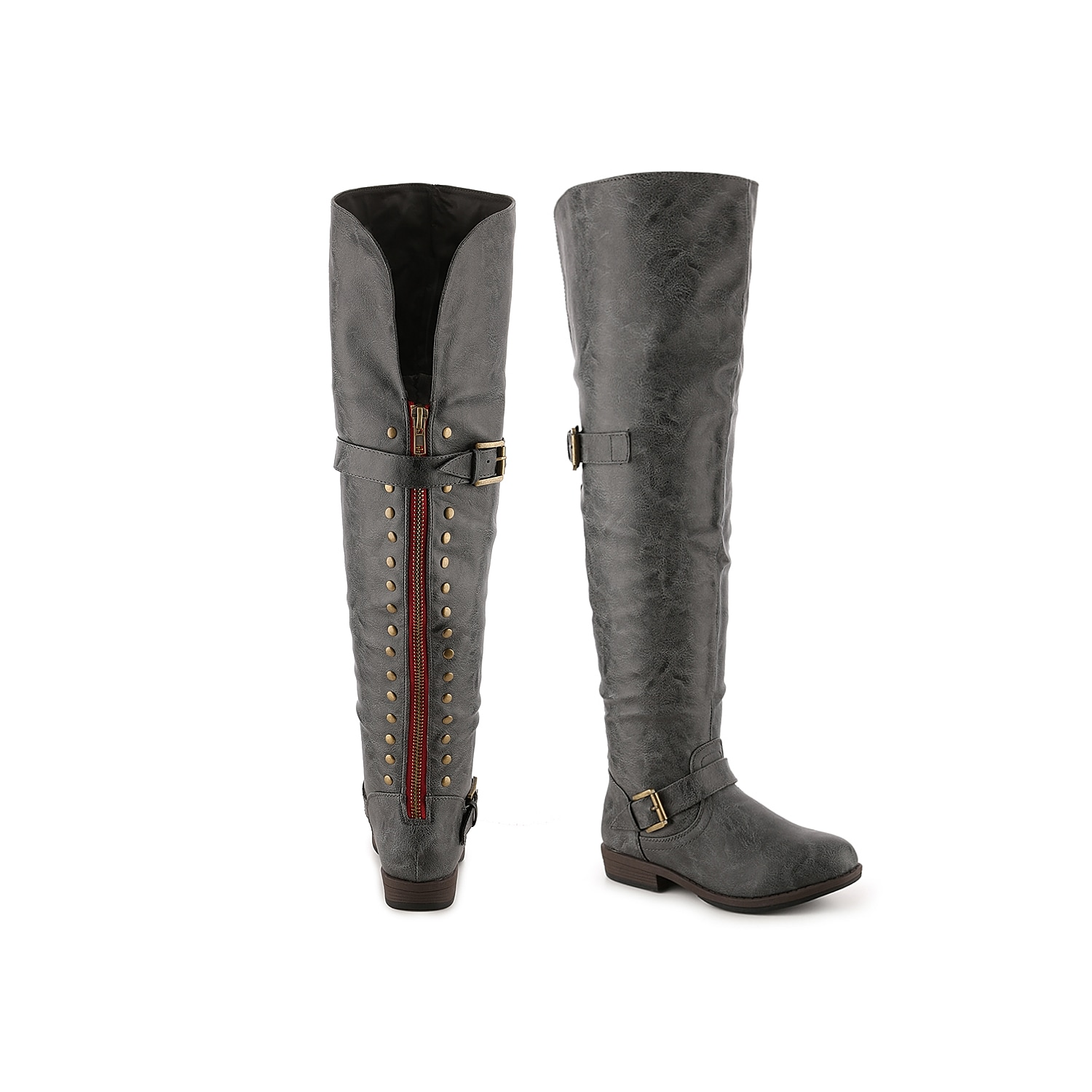 With a hidden cell phone pocket and faux fur lining, the Kane by Journee Collection will be your go-to knee high boot for fall. This studded over the knee boot has a color lined zipper and a buckle accent, that adds just the right amount of edge you\\\'re looking for.Click here for Boot Measuring Guide.
