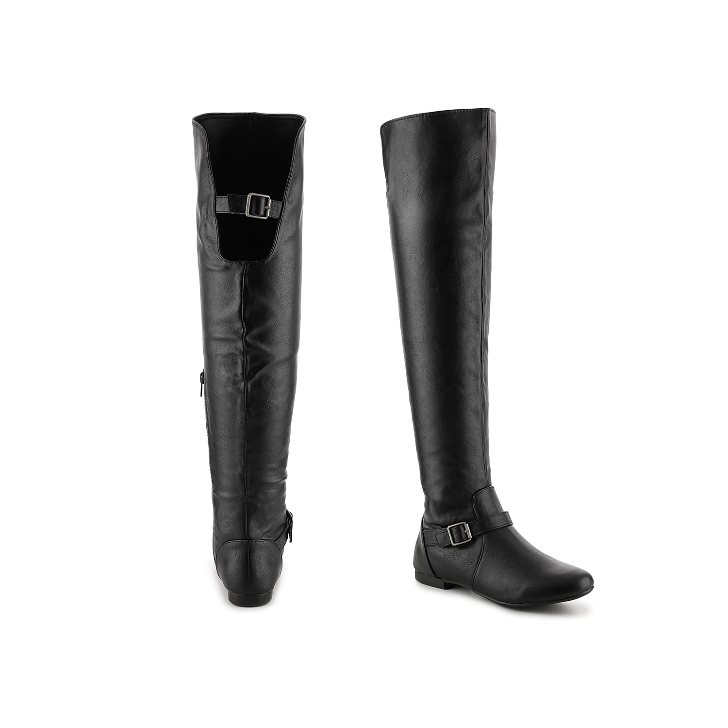The Journee Collection Loft riding boot has buckle strap details and a classic silhouette for a must-have style. These versatile knee high boots are the perfect flat boot for your casual wardrobe.Click here for Boot Measuring Guide.