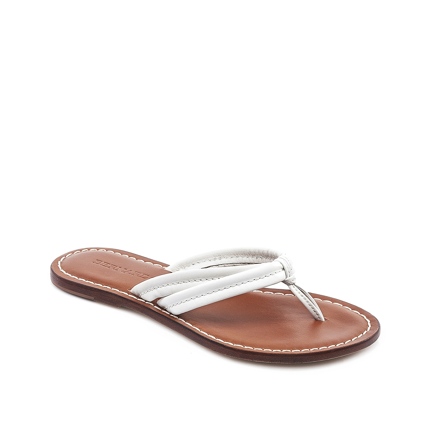 Stay savvy-chic this season in the Miami flat sandal from Bernardo. This pretty pair features leather thong straps that will go great with a printed maxi and sunnies!