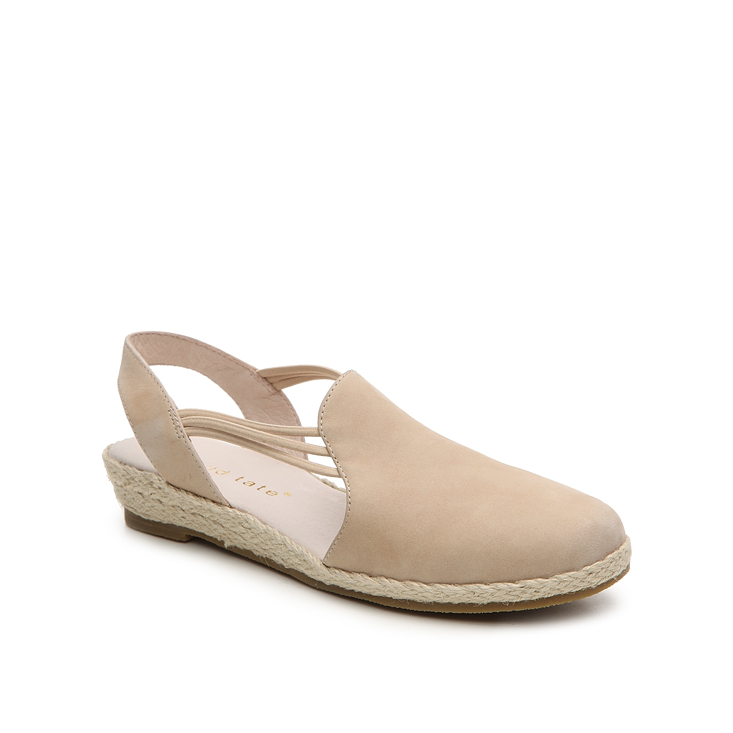David Tate brings you a uniquely designed wedge sandal. The Nice has hooded styling with bungee straps and an espadrille trim.
