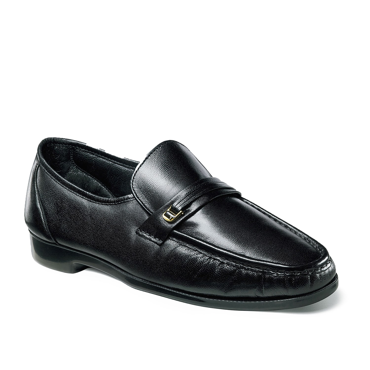The Florsheim Riva is a classic dress shoe that features a hidden gore made with genuine hand sewn construction for a comfortable, easy slip-on fit. A decorative strap and metal accent completes this loafer, giving it a clean finish and classic look.
