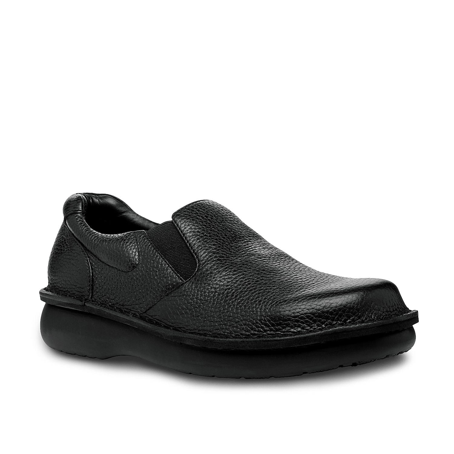 Built with a stitch to sole construction, the Galway slip-on from Propet features an extra-volume for roomy comfort. This handsome, waterproof style works with dressier slacks or a pair of jeans.
