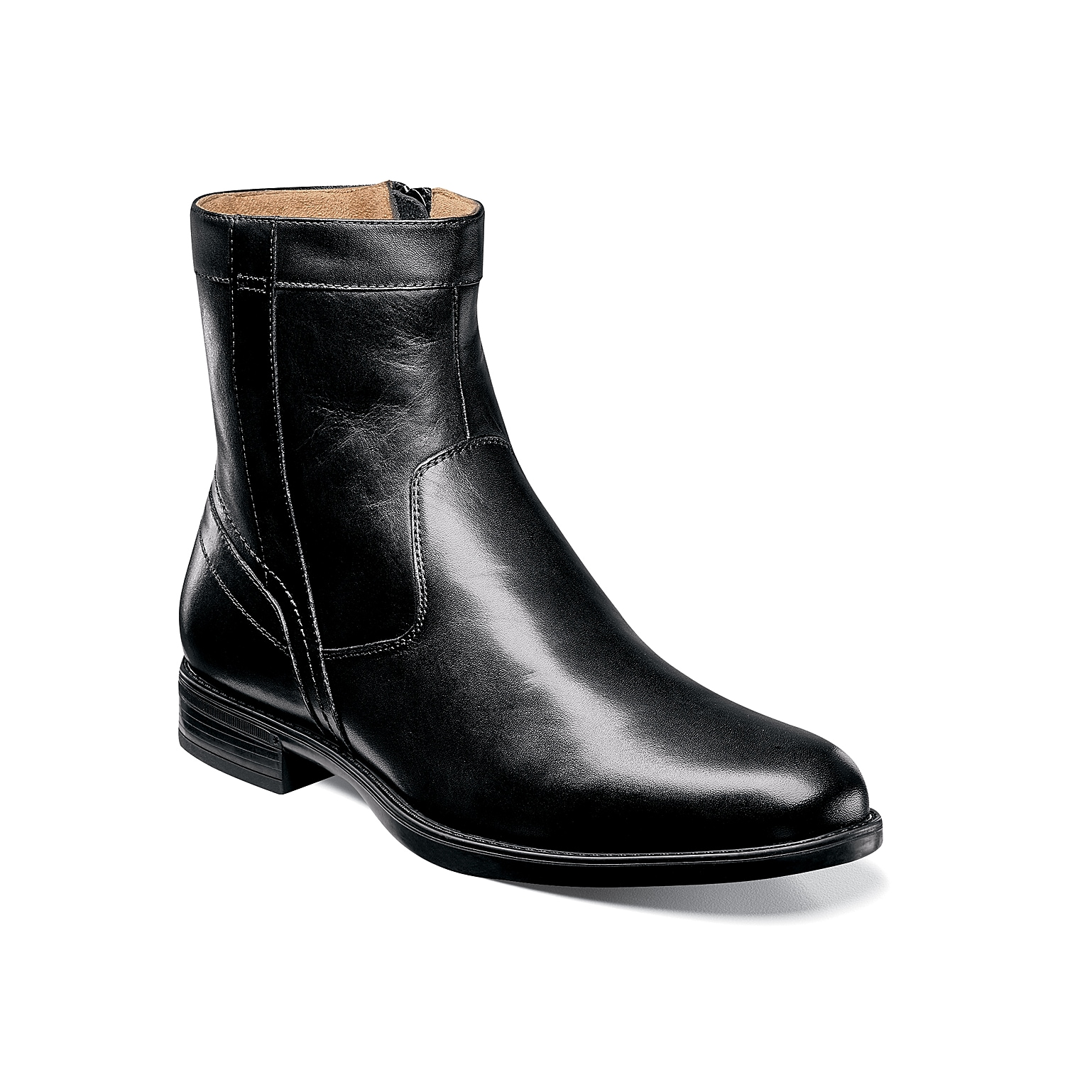 A sturdy boot built with unique technology for superior comfort and support, the Florsheim Midtown Plain Toe Zip Boot is a sharp alternative to your classic dress footwear. This handsome shoe is constructed with smooth leather and has an easy fit.