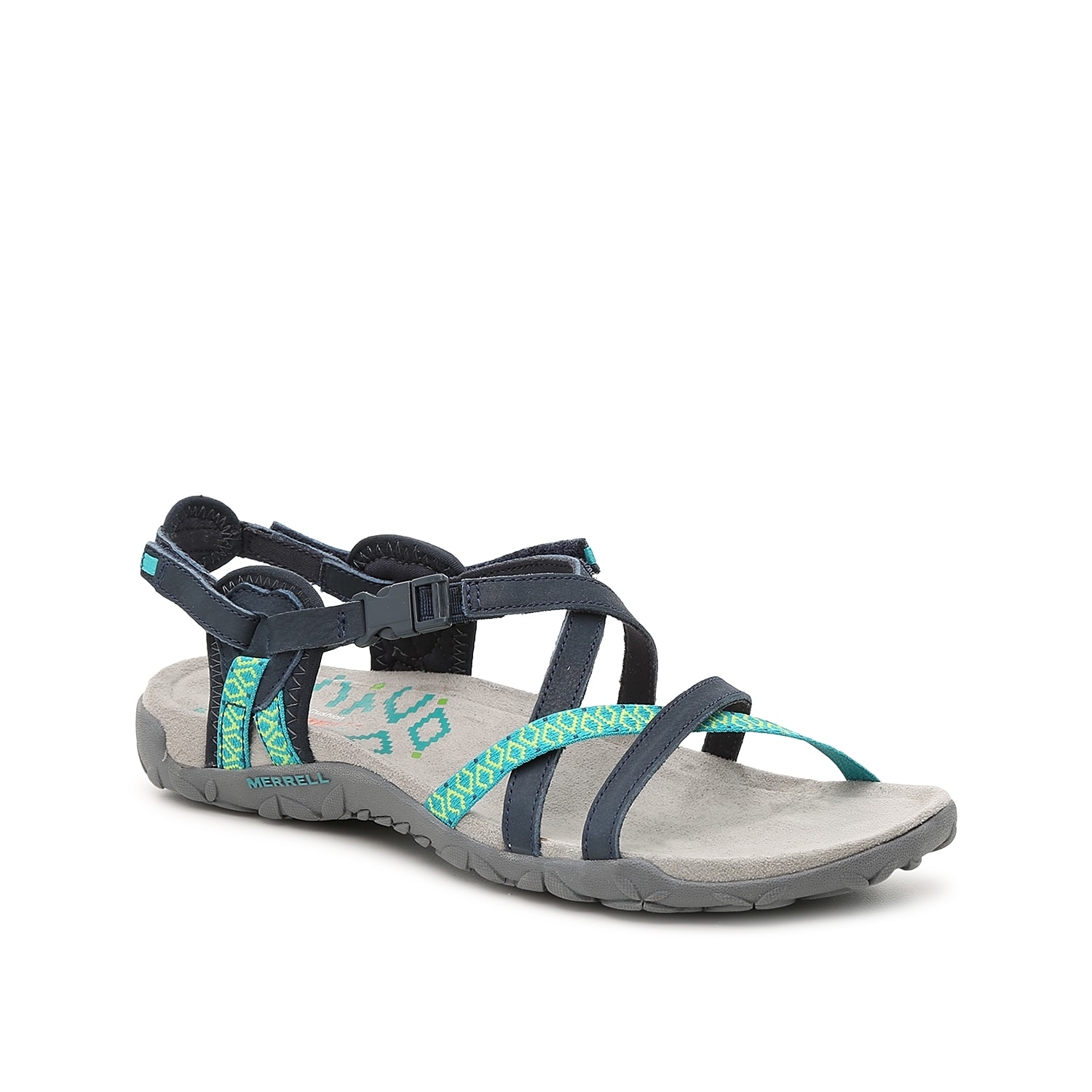 With smooth leather and a soft cushioned footbed, the Merrell Terran Lattice II sandal is the perfect blend of comfort and style! Sporty and casual, these strappy sandals are ideal for weekend wear.