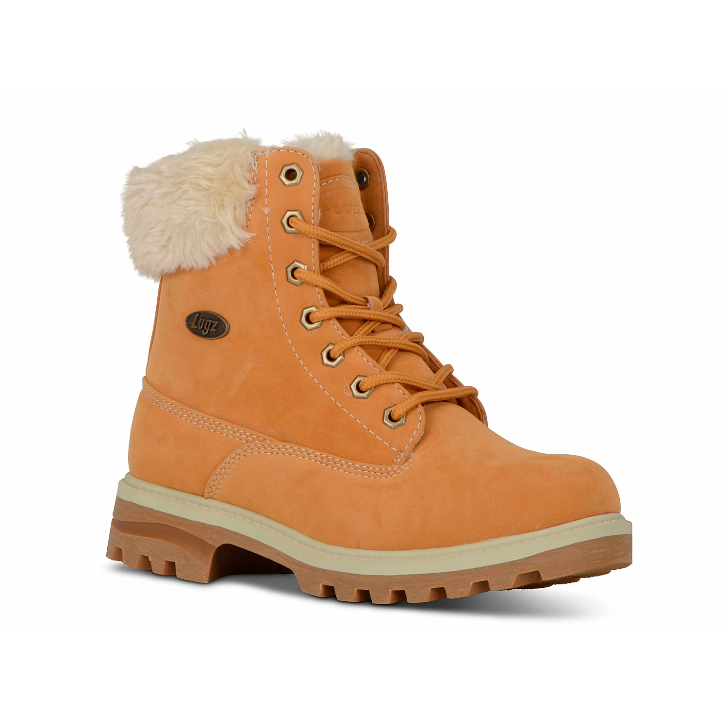 Lace up in the Empire Hi ankle boots from Lugz for a fashionable update to your casual winter wardrobe! With cozy faux fur lining and a memory foam insole, these water resistant lug booties offer both comfort and style!