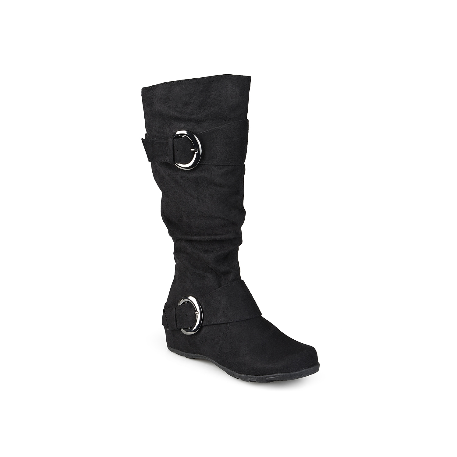 Searching for a basic tall boot to complete your casual wardrobe? Journee Collection has you covered with the Jester. With a slouchy silhouette and polished buckle accents, these versatile knee high boots will pair great with jeans or leggings. Click here for Boot Measuring Guide.