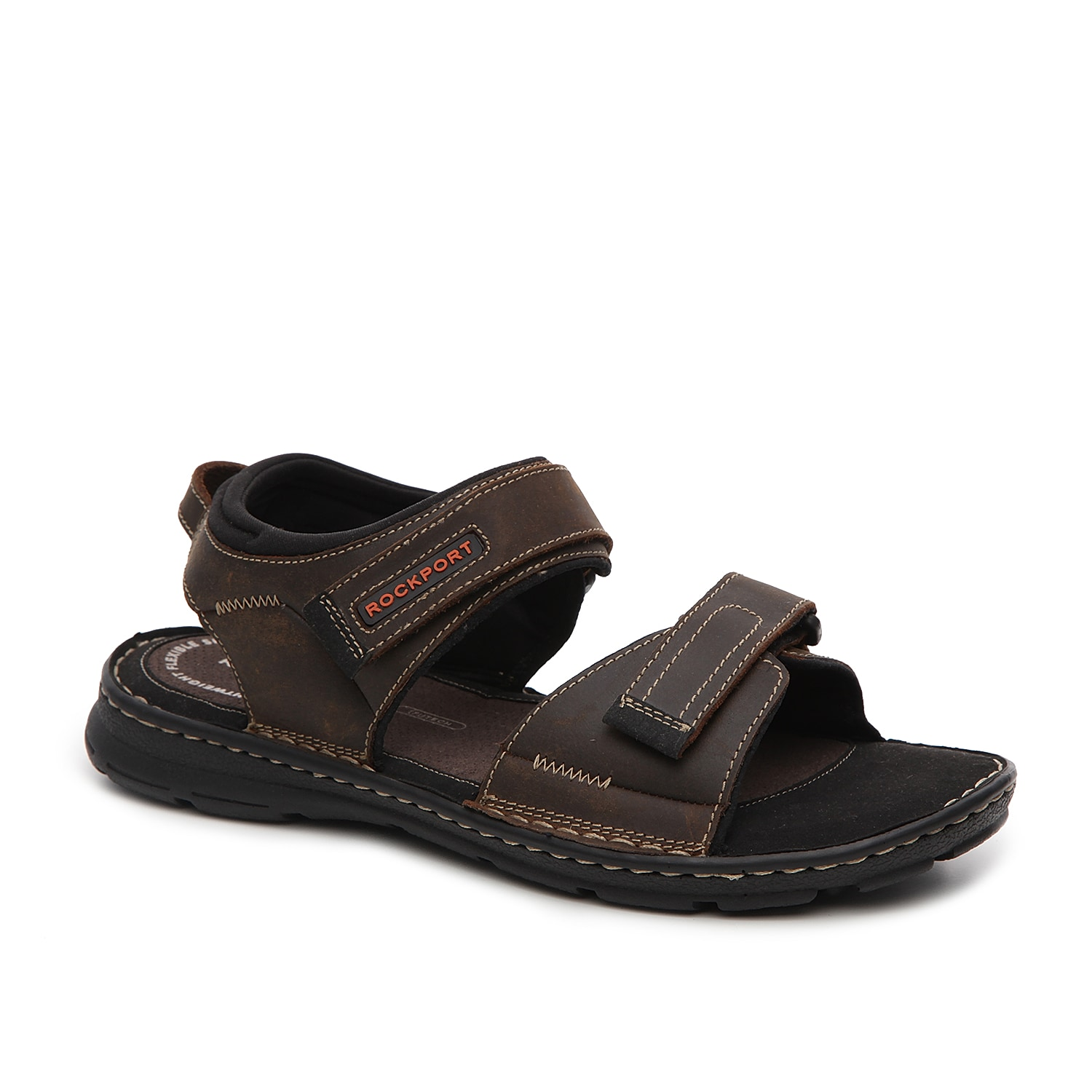 To add comfort and functionality to your wardrobe, add the Rockport Darwyn sandal to your shoe collection. These leather sandals will surely keep you comfy all day long!
