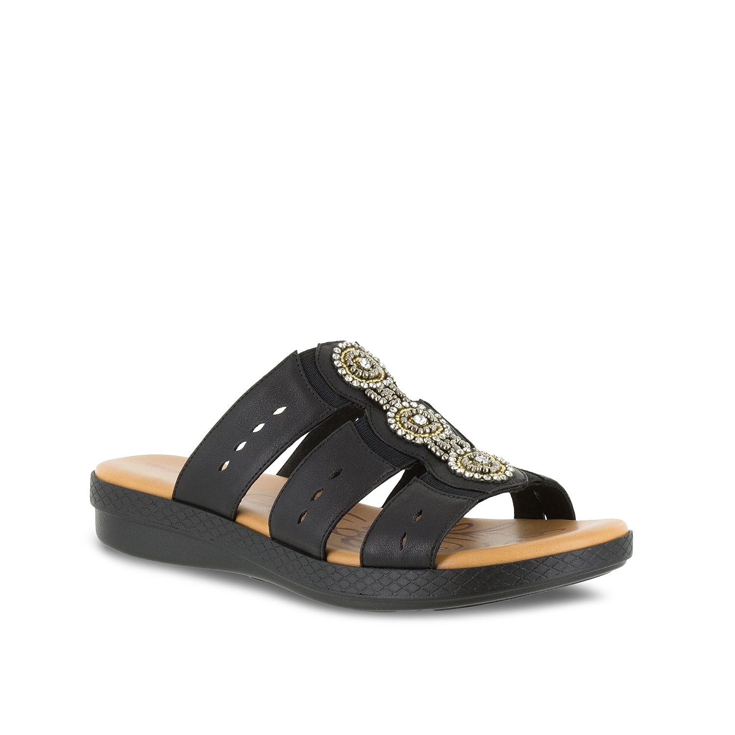 Slip on the Nori slide sandals from Easy Street to complement your classic style! Comfy and versatile, these strappy sandals are the perfect flat sandals to pair with anything in your summer wardrobe!