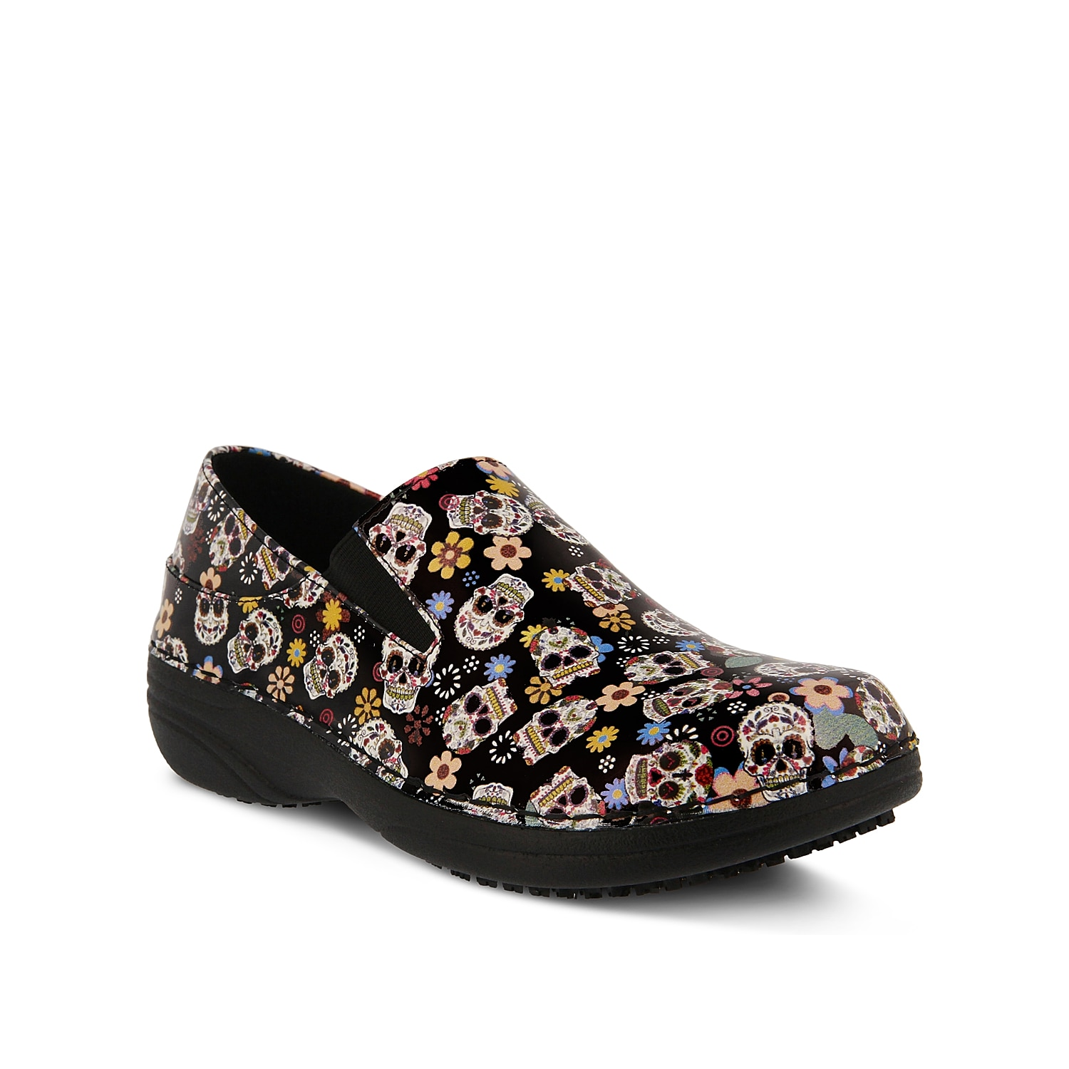Induce an offbeat element to your ensemble with this Ferrara clog from Spring Step. Colorful and quirky, this slip-on is accentuated with striking sugar skull graphics and has side stretch elastic inserts for a secure fit.