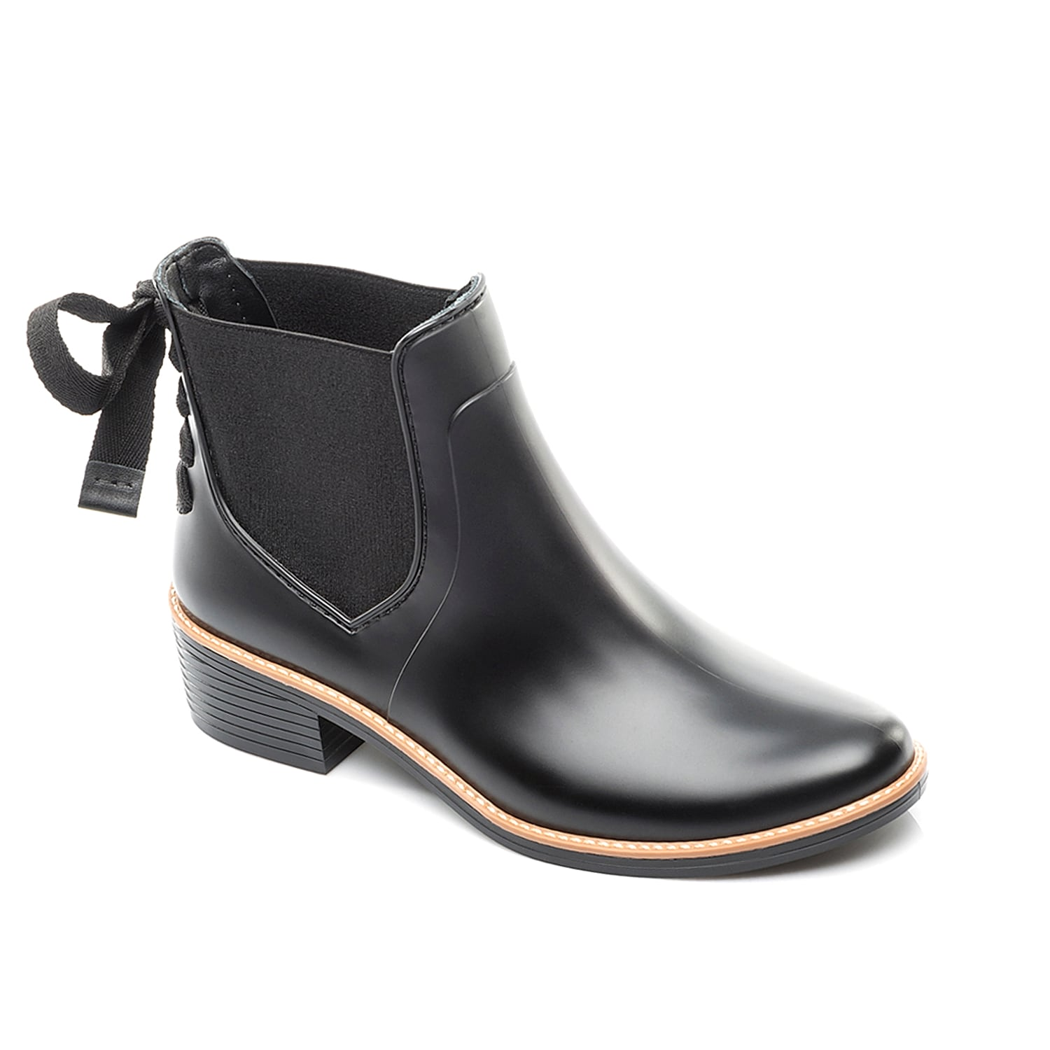 A lace-up bow gives the Bernardo Paxton rain booties a feminine design! These waterproof ankle boots are perfect for strutting through sidewalk puddles without compromising trend-right style. Click here for Boot Measuring Guide.