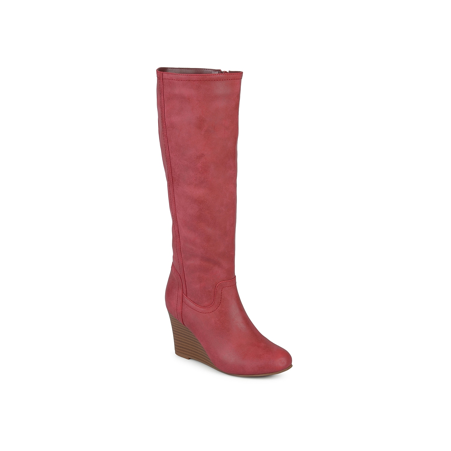 Zip up and show off these wedge boots from Journee Collection. The Langly tall boot is sure to give your look a lift with its simple yet sophisticated silhouette.Click here for Boot Measuring Guide.