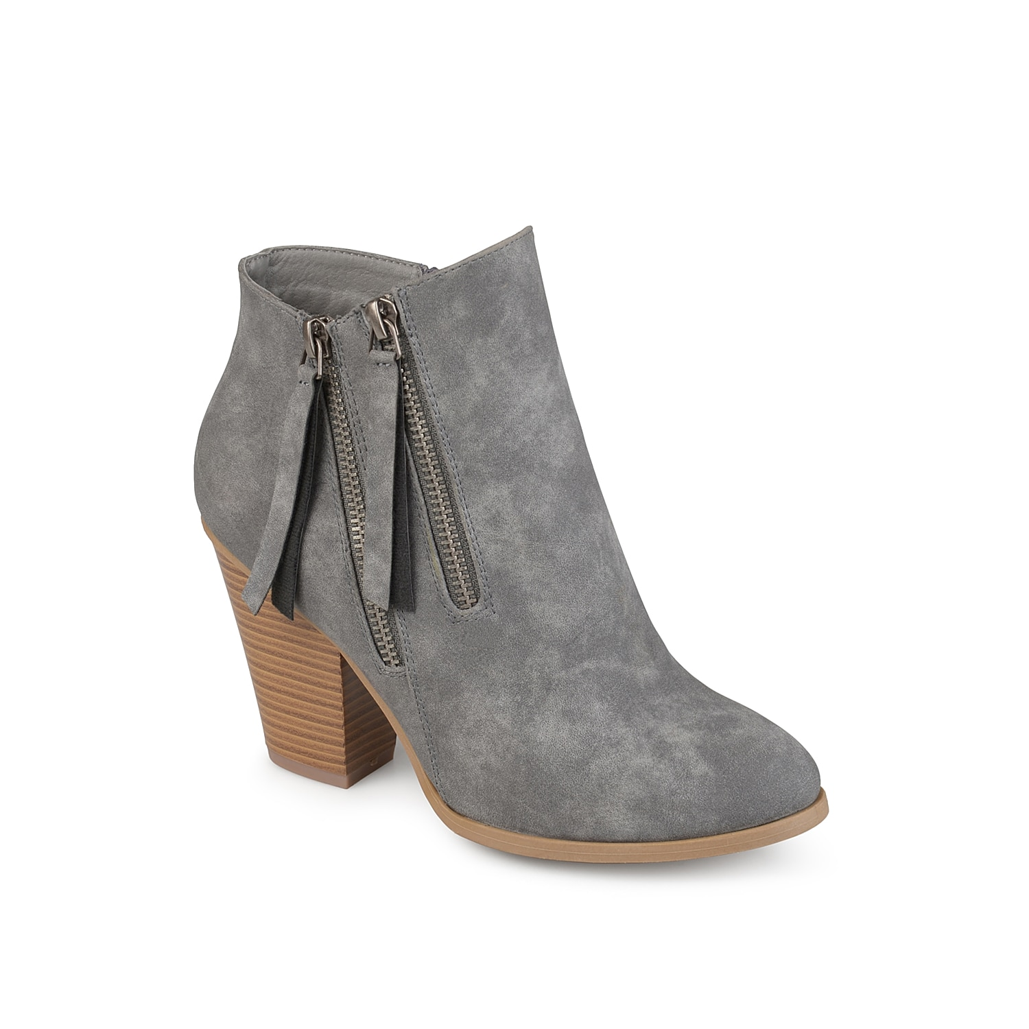 Showcase your chic style with the double zipper Vally ankle boots from Journee Collection. Decorative outside zippers and a block heel finish the look of this bootie for trendy appeal. Click here for Boot Measuring Guide.