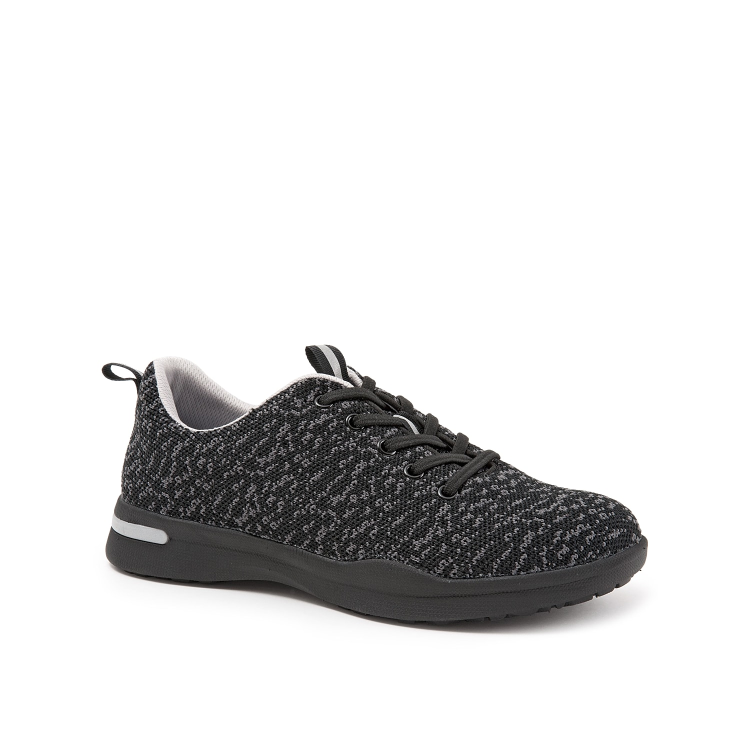 Your sporty look gets a new update with this lightweight Softwalk Sampson slip-on sneaker. This sneaker boasts of a knitted fabric upper styled with elastic lace-up detail to impart depth to its design. The removable cushioned footbed offers better arch support thereby ensuring comfort for long hours.