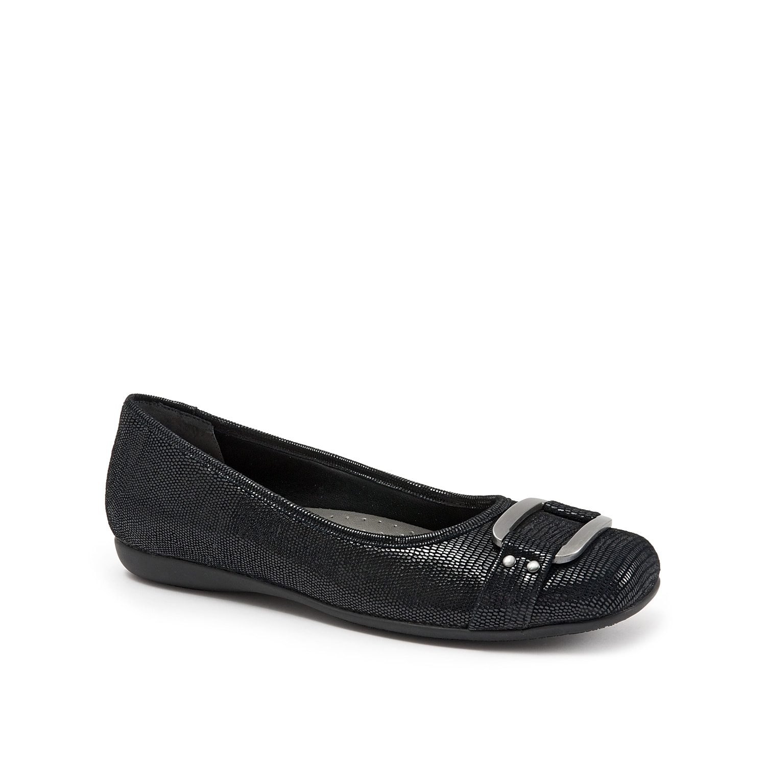 Complement your outfit with a touch of modernity by donning this Sizzle ballet flat from Trotters. Covered in an eye-catching embossed design with a classy ornament buckle on toe, this slip-on will carry impeccable charm to your strolls