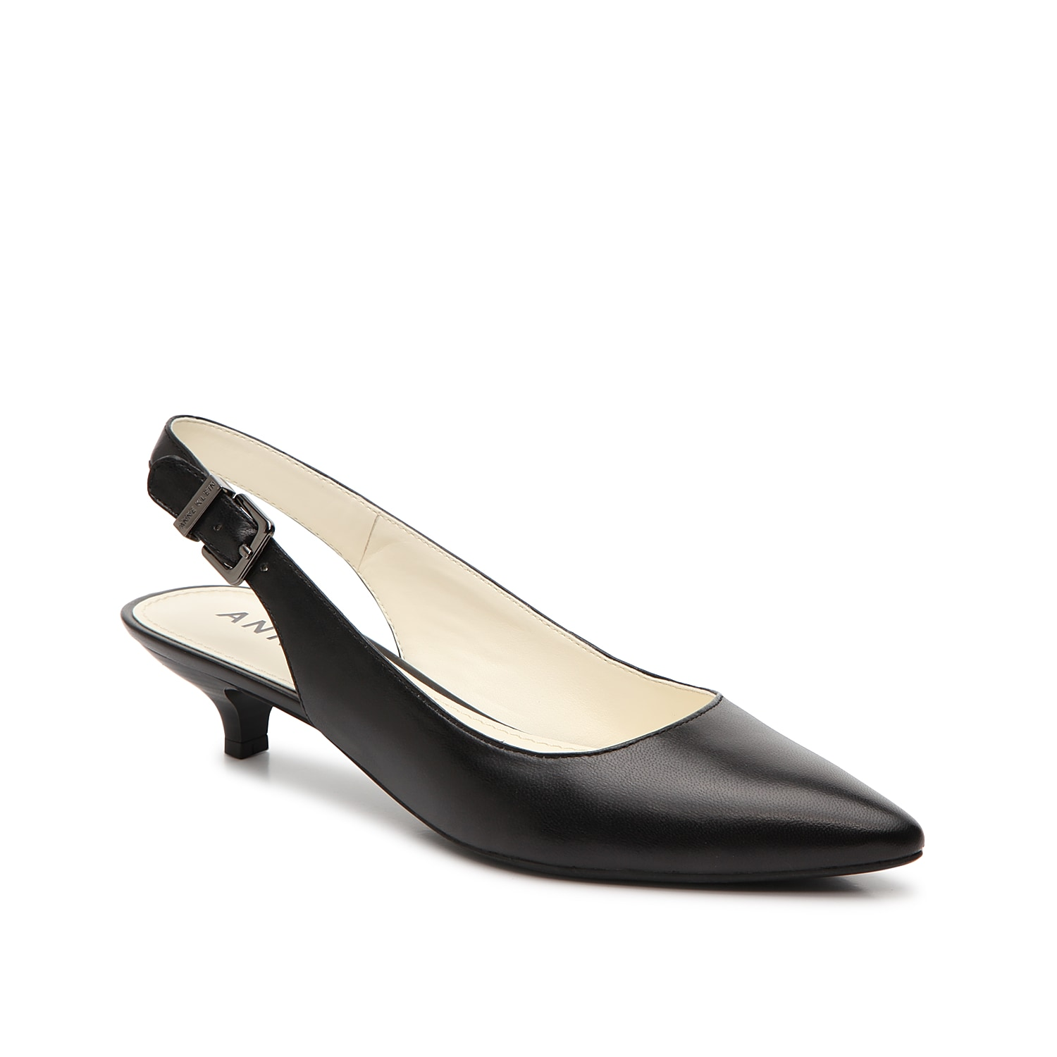Dress to impress in the office or during date night in the Expert pump from Anne Klein. These leather slingbacks are finished with a kitten heel for classic appeal.