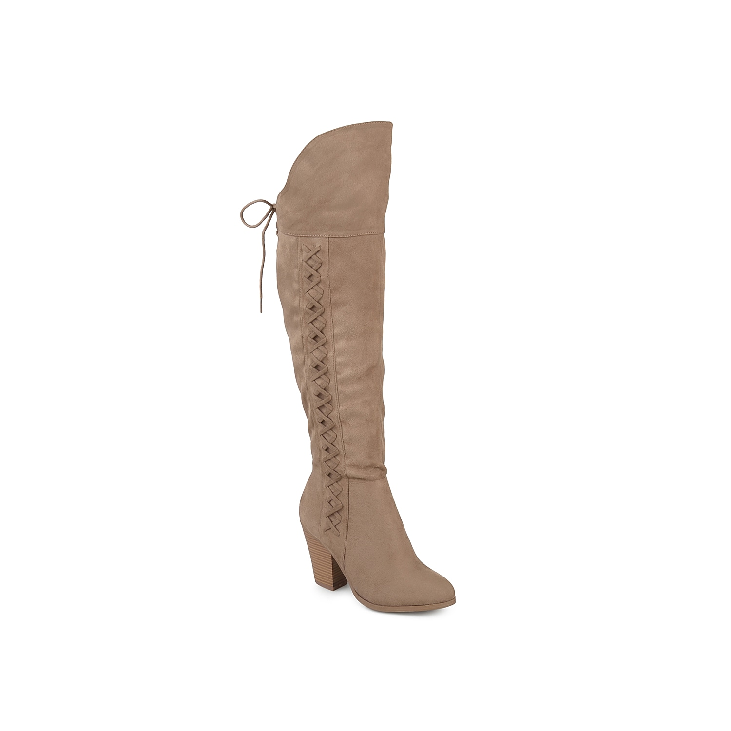 Grant a western-inspired makeover to your soles with this Spritz over the knee boot from Journee Collection. Boasting a braided vamp, this tall boot is designed with chic lace-up details and a tapering stacked heel to impart attention-grabbing appeal. Click here for Boot Measuring Guide.