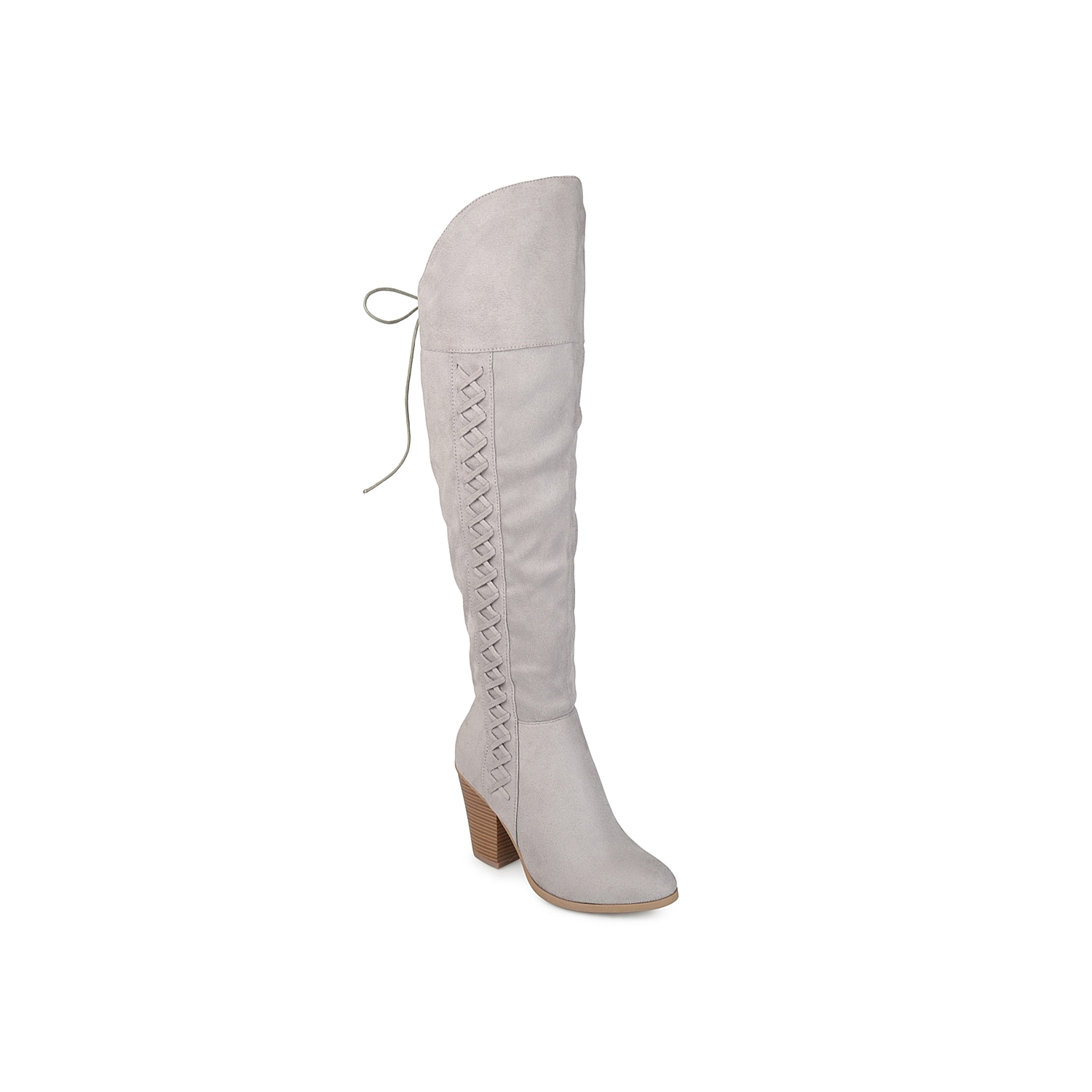 Grant a western-inspired makeover to your soles with this Spritz over the knee boot from Journee Collection. Boasting a braided vamp, this tall boot is designed with chic lace-up details and a tapering stacked heel to impart attention-grabbing appeal.Click here for Boot Measuring Guide.