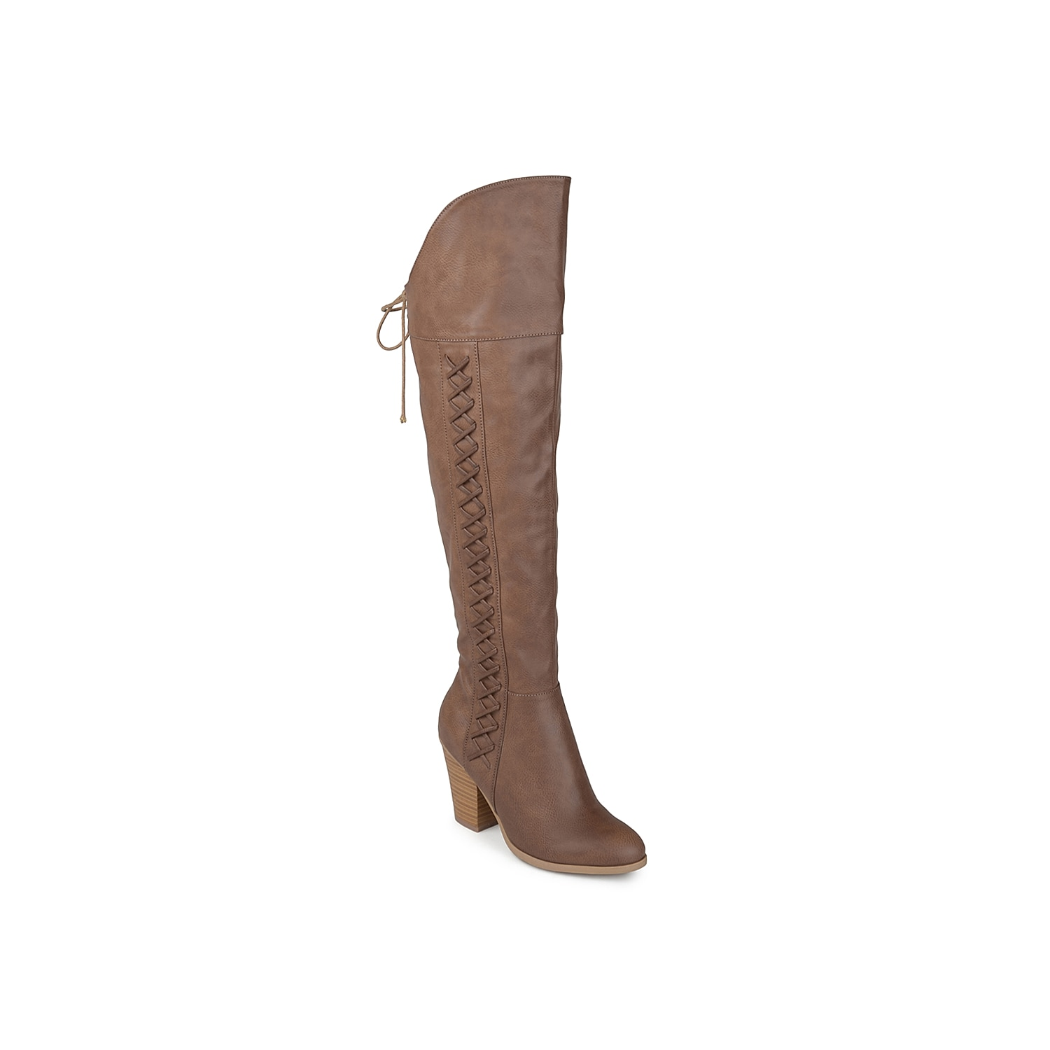 Take your style to the next level with the Spritz wide calf over the knee boot from Journee Collection. A bold stacked heel elevates the style of this tall boot that displays striking lace-up details and a raised vamp for a trendy look.Click here for Boot Measuring Guide.