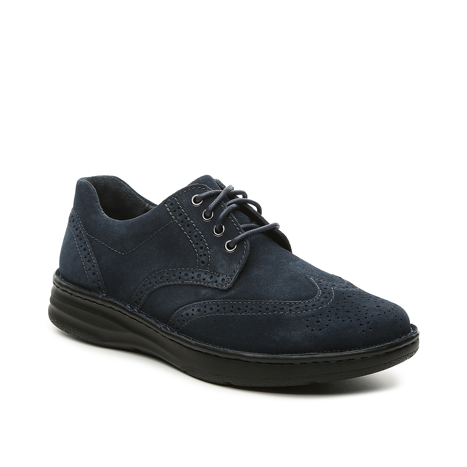Stay comfortable while looking your best in the Delaware oxford from Drew. Brogue detailing and a suede finish promise sophistication to any outfit, while a cushioned insole feels like you\\\'re walking on air.