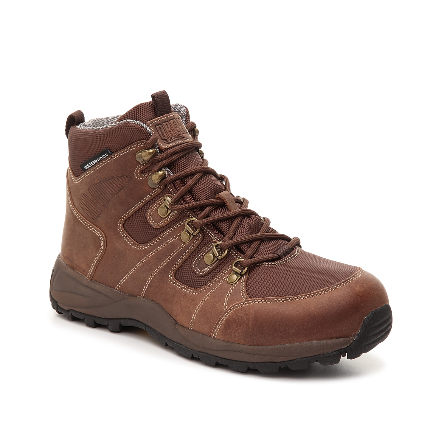 Work in safety with the Trek work boot from Drew. This waterproof pair features a removable insole for custom comfort and a sturdy rubber sole to prevent slipping.
