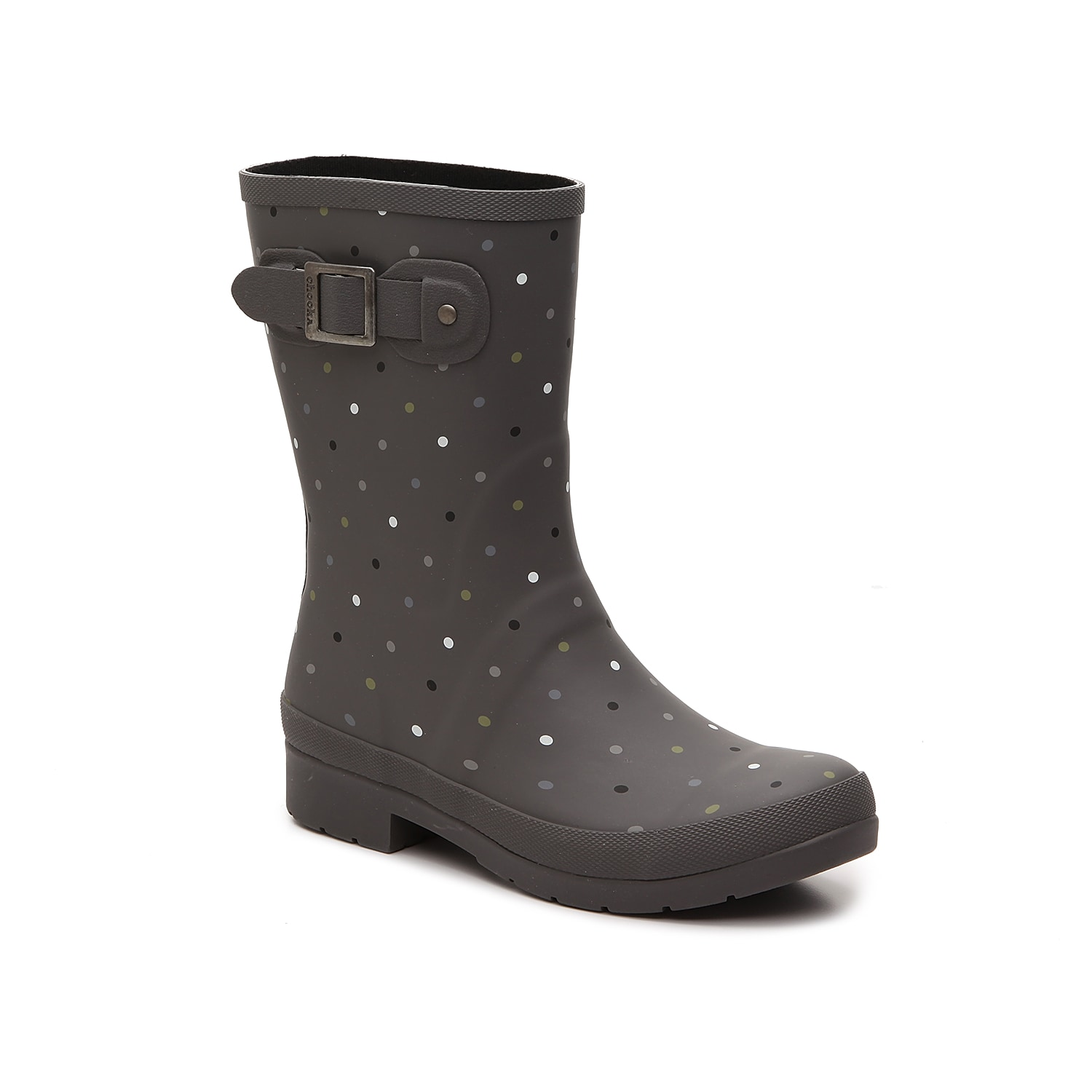 Enjoy jumping from puddle to puddle in the Downpour rain boot from Chooka. This iconic boot has allover multicolor polka dots and a decorative buckle strap to capture that classic rainy day look. Click here for Boot Measuring Guide.