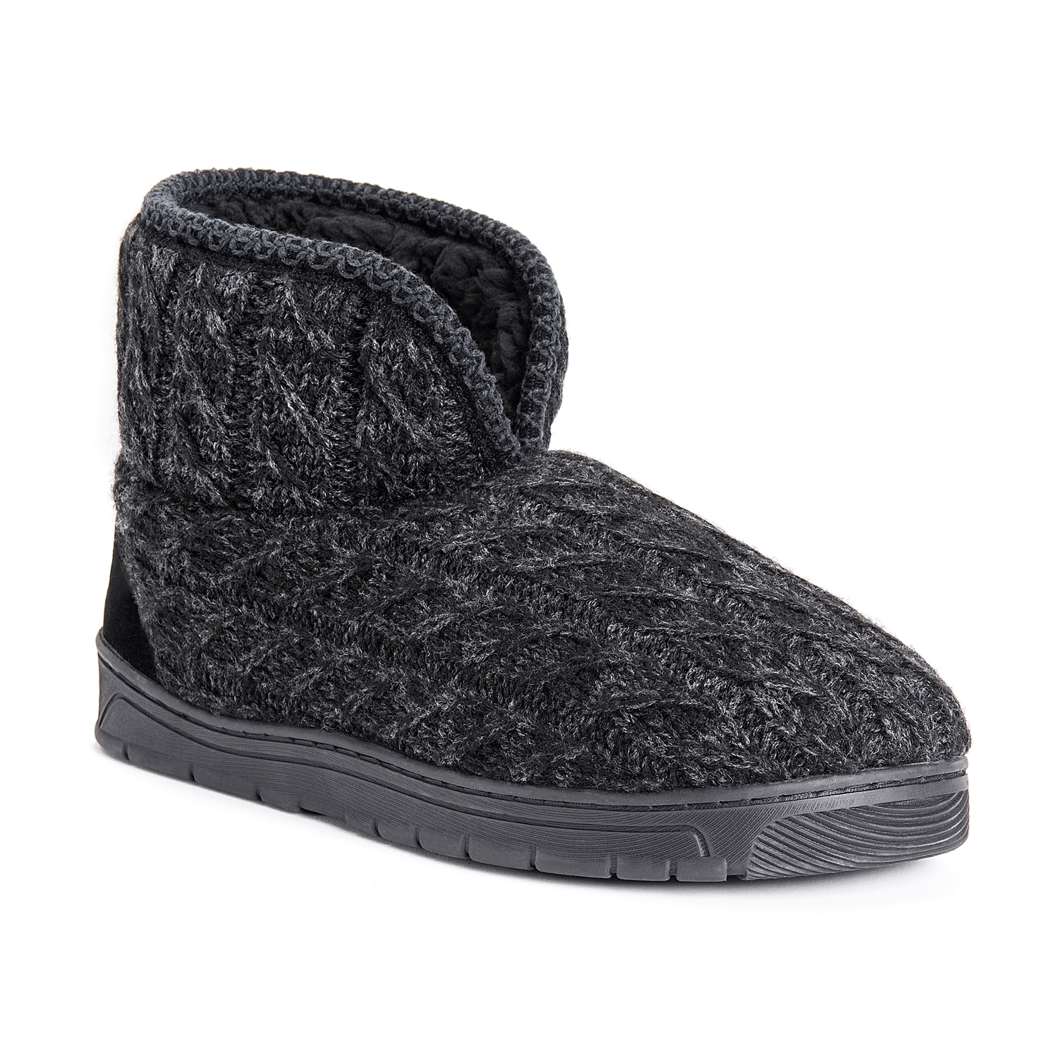 For a look that will keep you feeling good, pull on the Mark slipper from Muk Luks! These boots feature a warm faux fur lining and a rubber traction sole that can be worn inside or out.