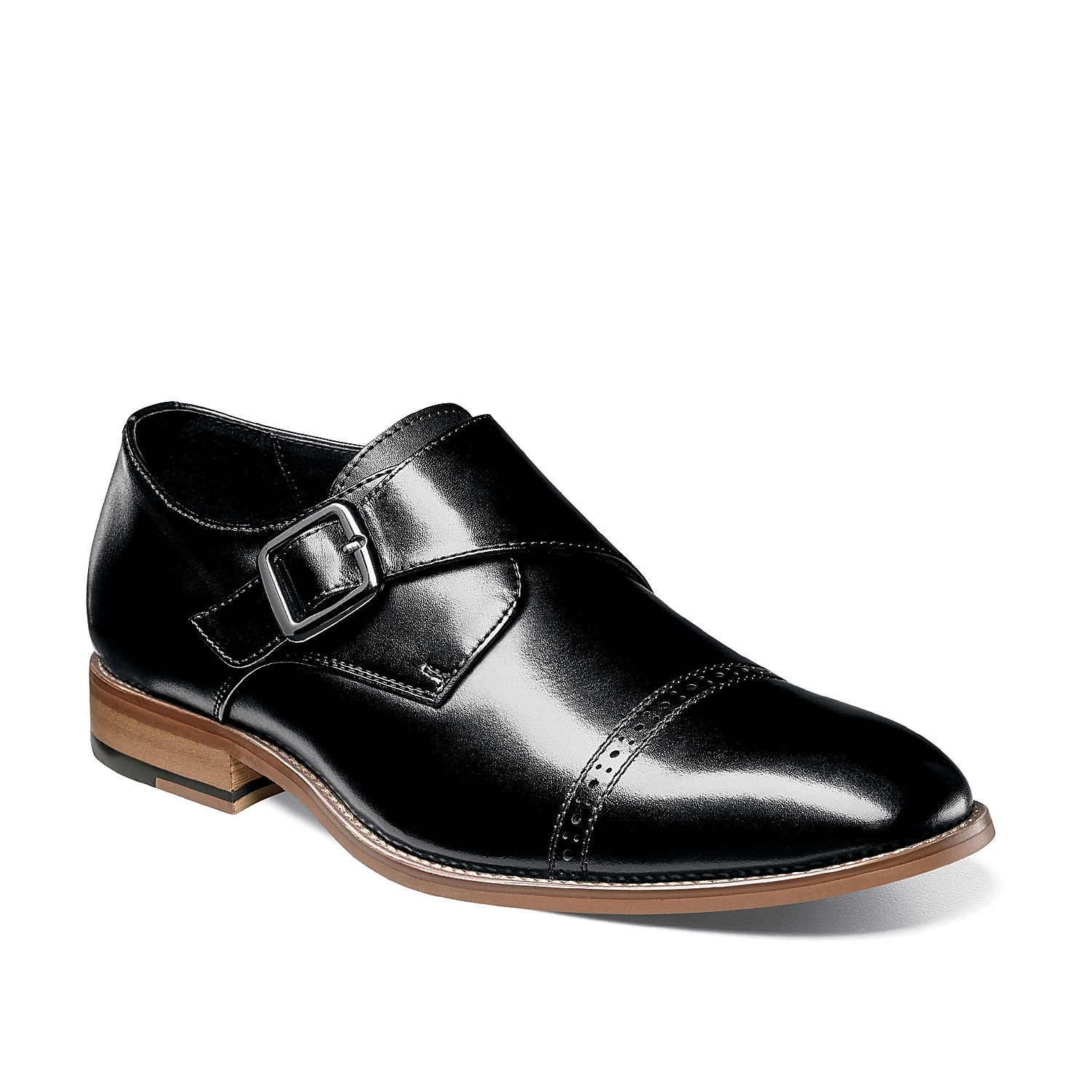 Dress up your look with these dapper Desmond monk strap shoes from Stacy Adams. This dress shoe features a brogue detailing cap toe to make this silhouette look extra snazzy!
