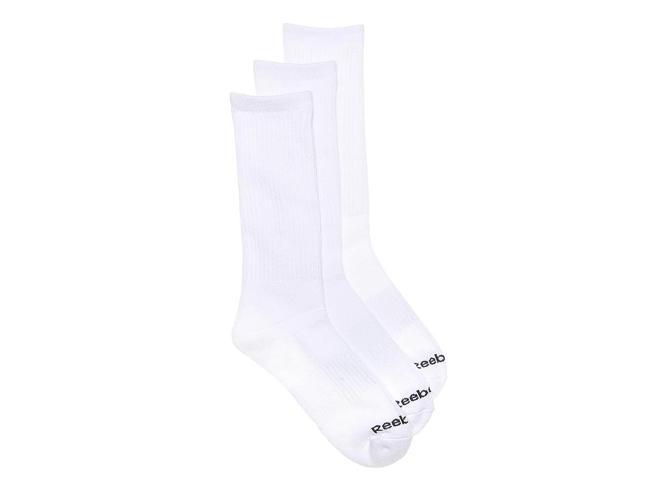 S Reebok Mens White Crew Socks Pack of 6 Size 6-12.5 Retails $20.00