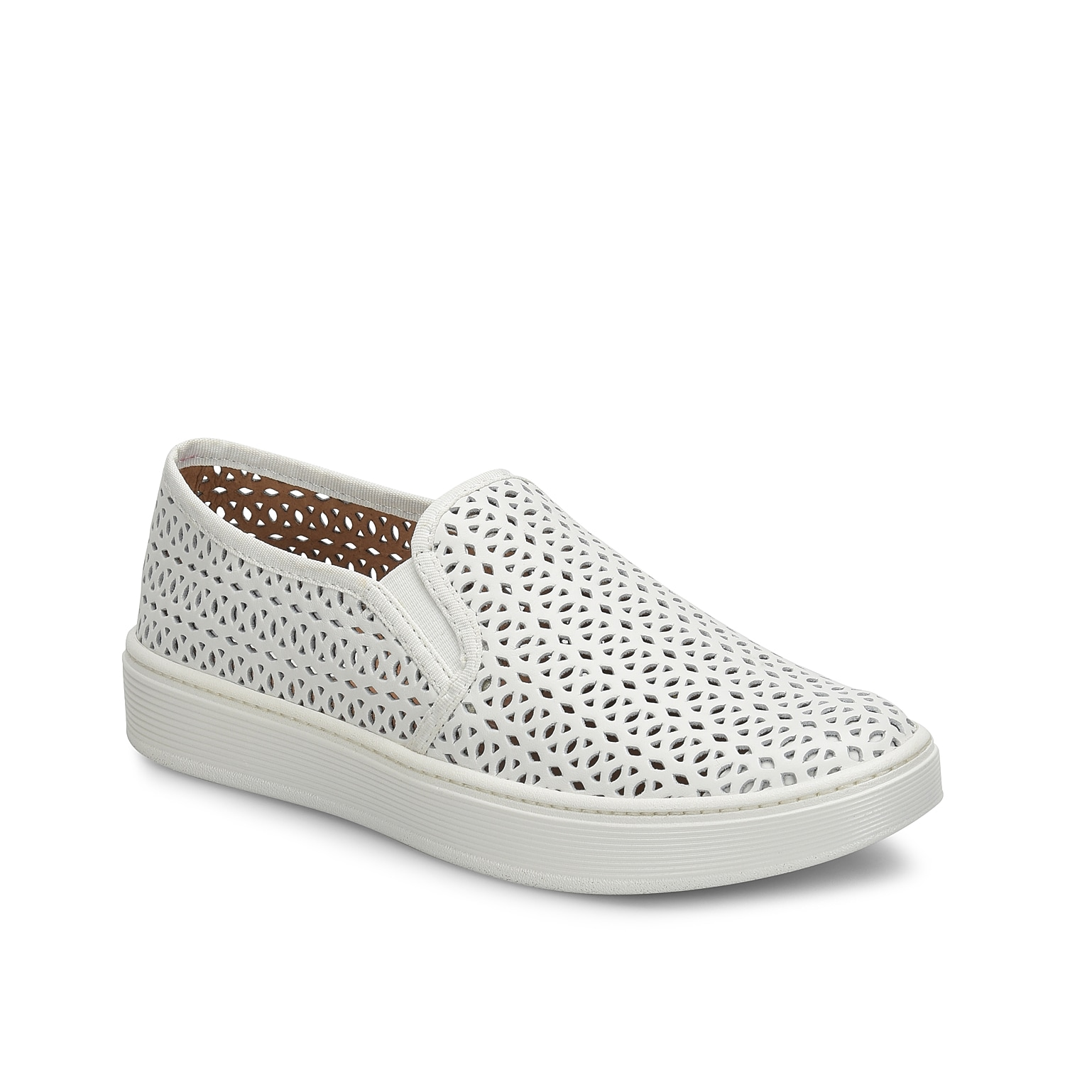 The Somers II sneaker from Sofft will add an extra-cool factor to your casual look while stay comfortable. With a supportive footbed, these leather laser cut slip-ons will never let you down.