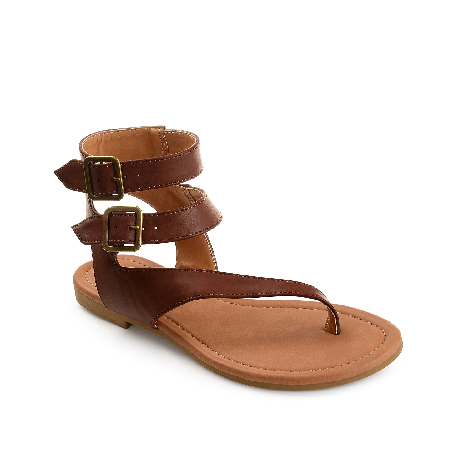 Buckle into chic style with the Kyle sandal from Journee Collection. A double ankle strap and asymmetrical styling will make these flat sandals your new favorite!