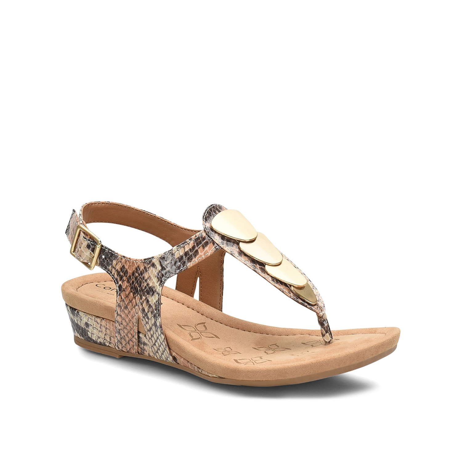 Comfortiva promises lasting style with the Summit sandal. These slingbacks feature a chic embossed design and wedge heel for an extra hint of height.
