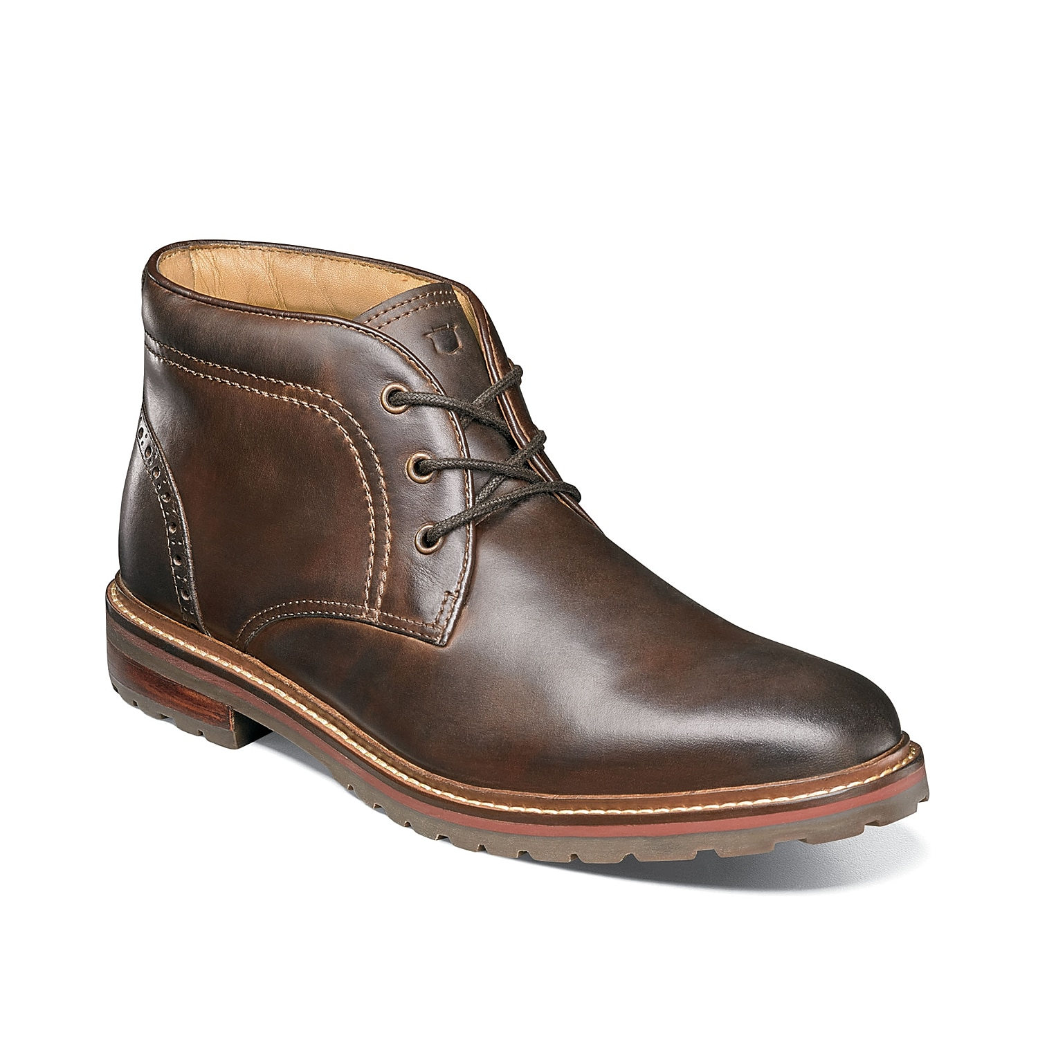 The Fenway chukka boot from Florsheim will fit all of your fashion needs. This lace-up features a sleek leather finish and a hint of perforated brogue detailing for an iconic, everyday look!