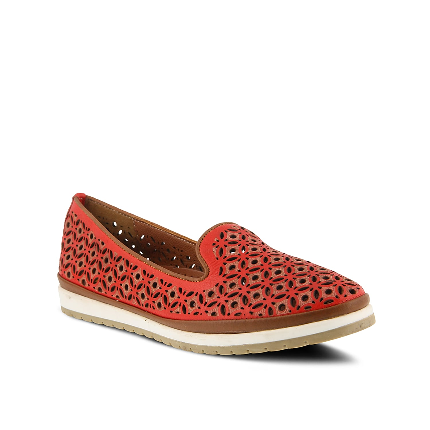 Slip into chic style with the Tulisa flat from Spring Step. Laser cut detailing, a cut away lip, and two-toned midsole adds an updated finishing touch to this leather flat.