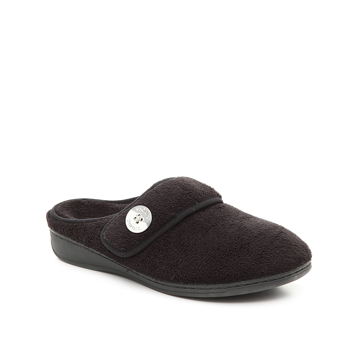 Slip on the Sadie scuff slipper from Vionic for ultimate comfort all day long. The microfiber finish and hook and loop strap will leave your feet feeling secure and relaxed!