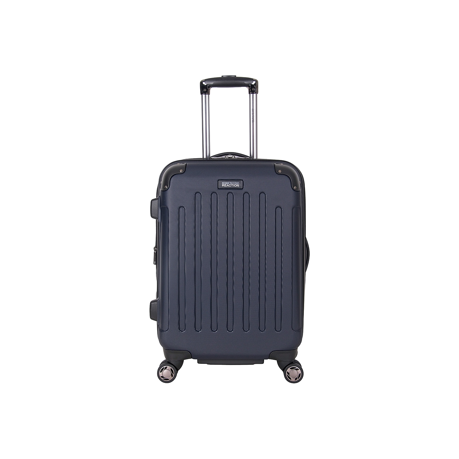 Fly through airport terminals with this free-weight rolling suitcase from Kenneth Cole Reaction. The Corner Guard expandable luggage is fitted with 8 multi-directional spinners, molded reinforcements on all four sides, and a durable hardcase exterior. Flexible top and side grab handles allow for easy lifting into airline overhead compartments.