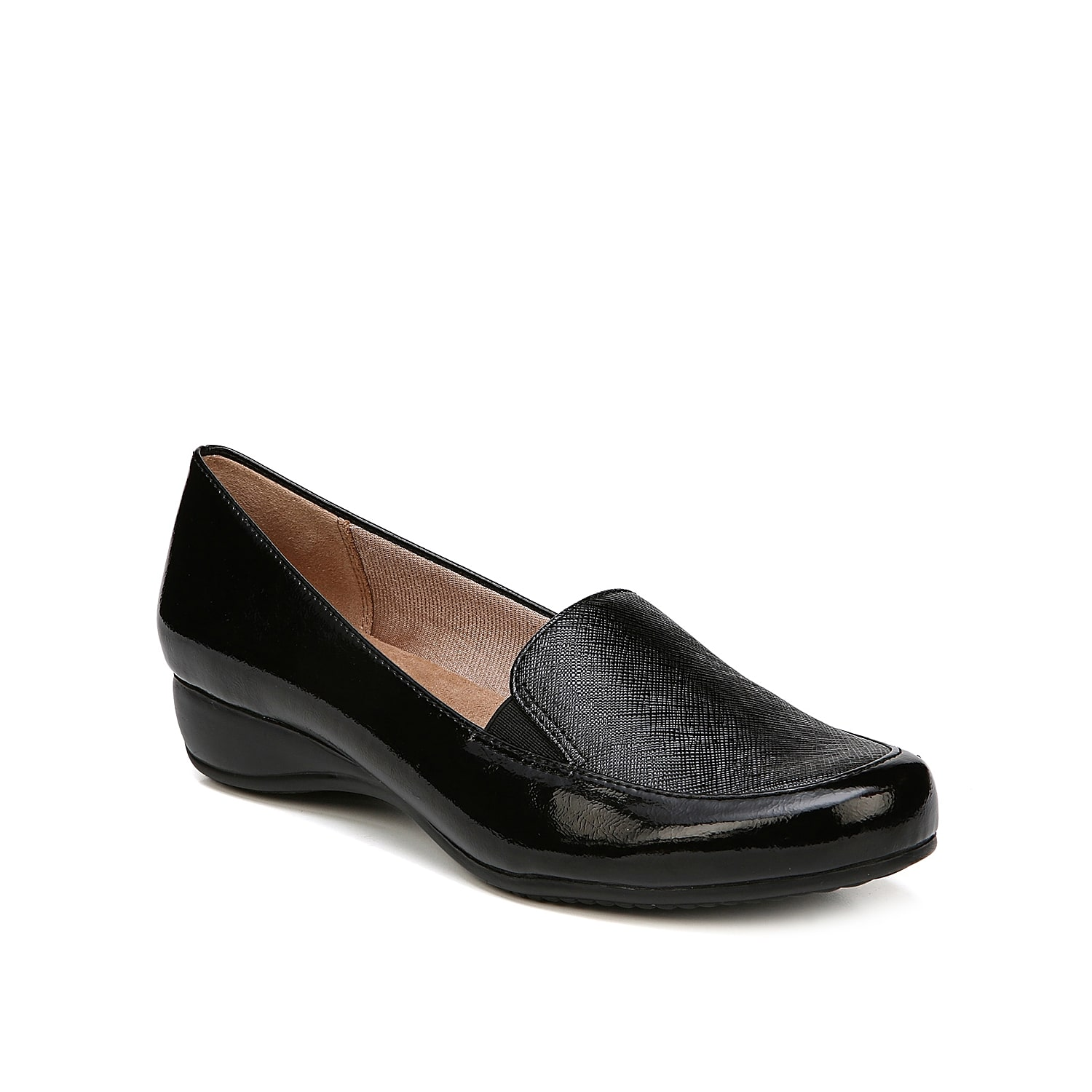 With a low demi wedge heel, the Dara loafer from LifeStride will offer the perfect amount of height to your tailored shoe collection. An extra plush Soft System® footbed adds a comfortable finishing touch to this sleek slip-on.