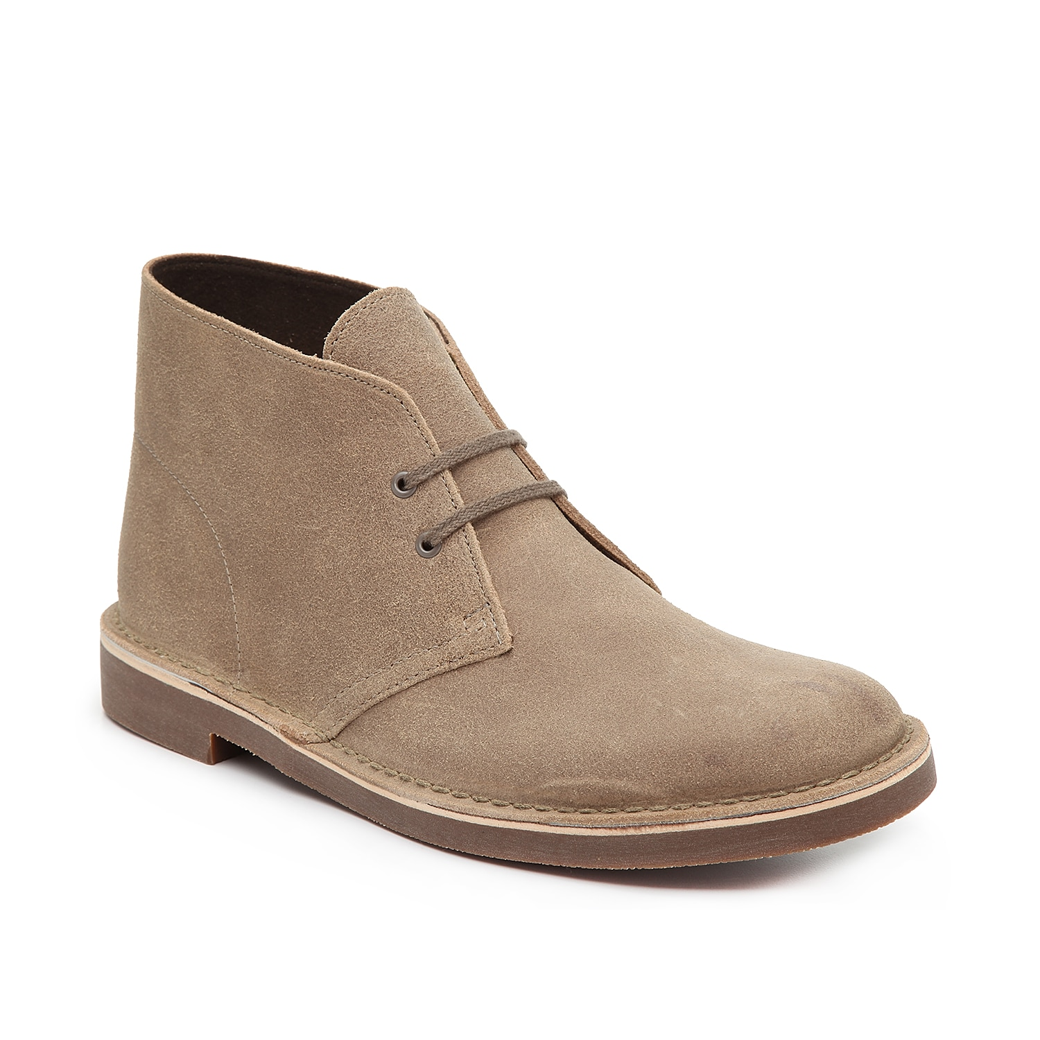 If you\\\'re looking for a shoe that delivers comfort, quality, and style, the men\\\'s Bushacre 2 desert boot from Clarks is a perfect match! This lace-up chukka provides lasting comfort with its cushioned footbed and ankle-height topline.