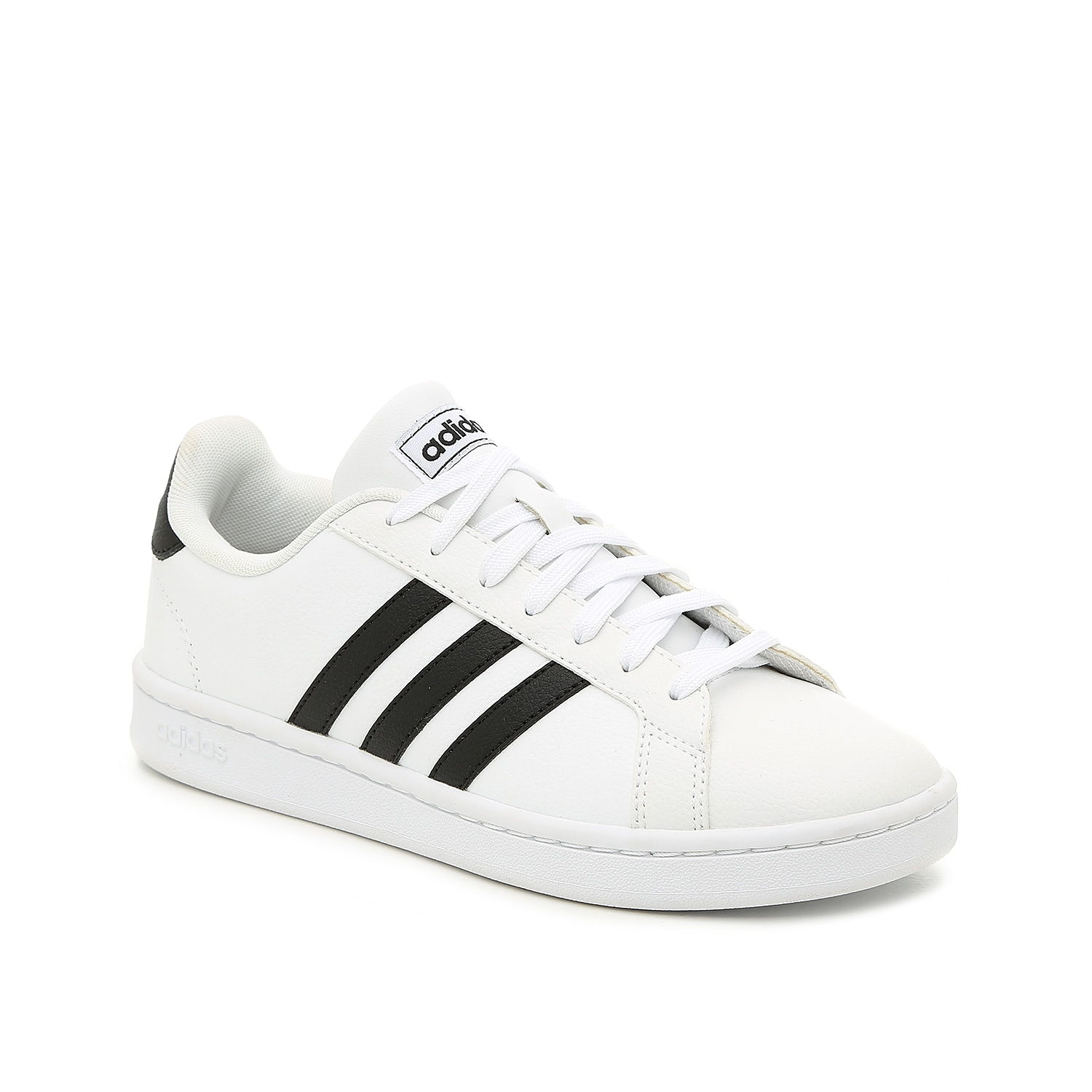 Show off your favorite athleisure trend with the women\\\'s Grand Court sneaker from adidas. This low-top sneak features the three iconic black stripes and classic design that will pair perfectly with leggings and a cropped crew neck sweatshirt!