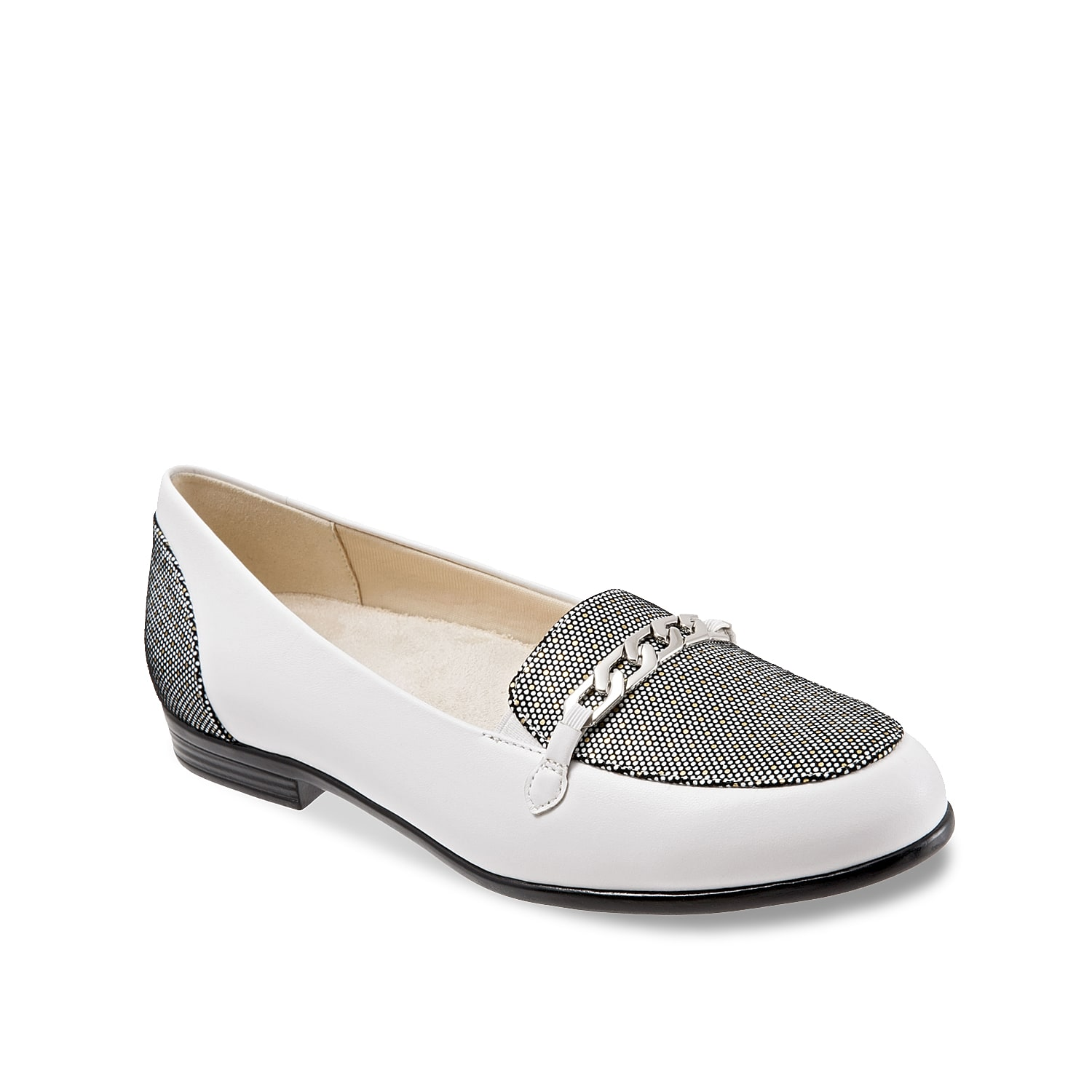 Get the perfect streamlined look with the Anastasia loafer from Trotters. Highlighted with textured accents and a decorative chain ornament, this elegant slip-on features antimicrobial lining and a low profile heel for all day comfort.