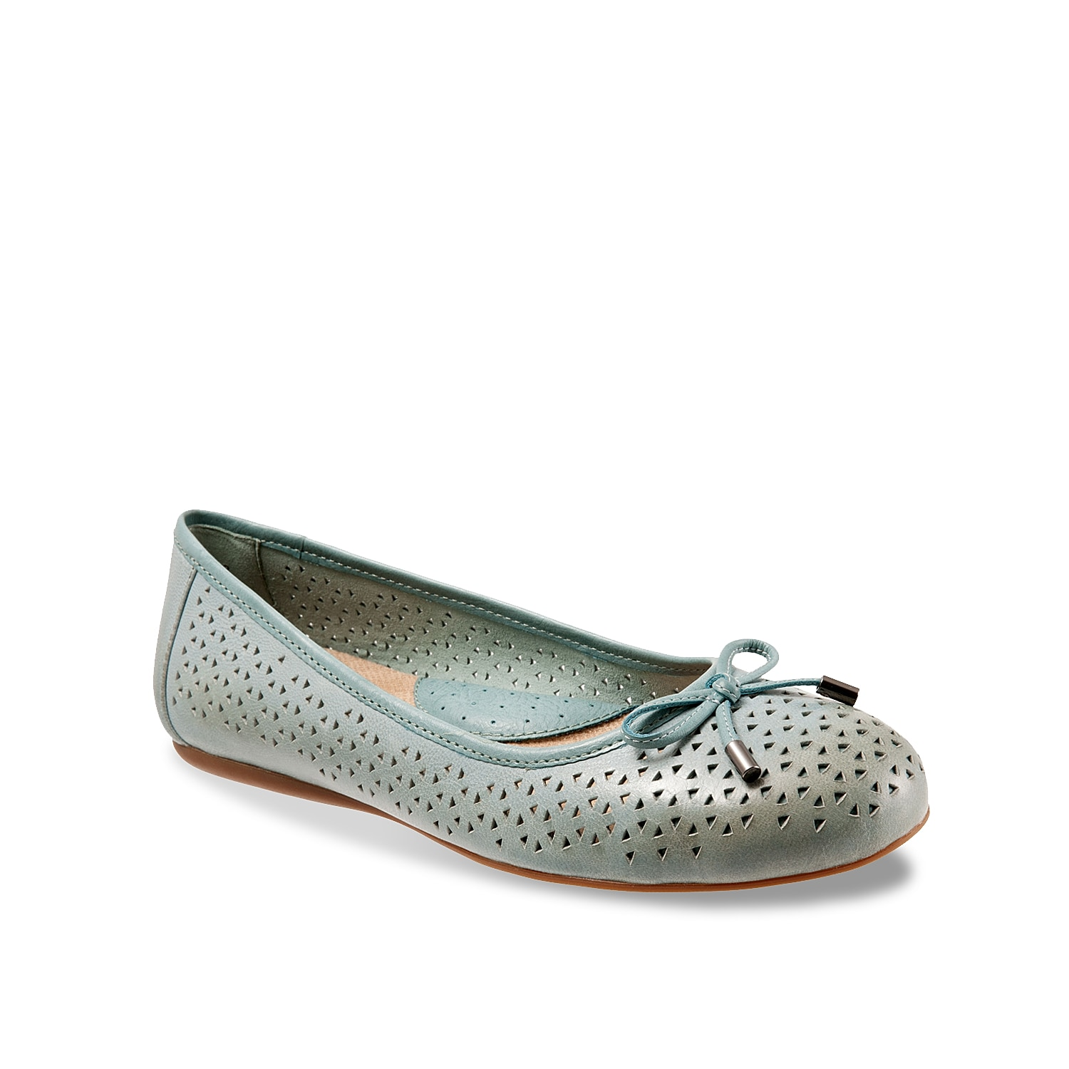 Keep a pair of ballet flats at the front of your closet for endless style transformations! The Softwalk Napa slip-on is fashioned with geometric laser cuts and a delicate bow detail.