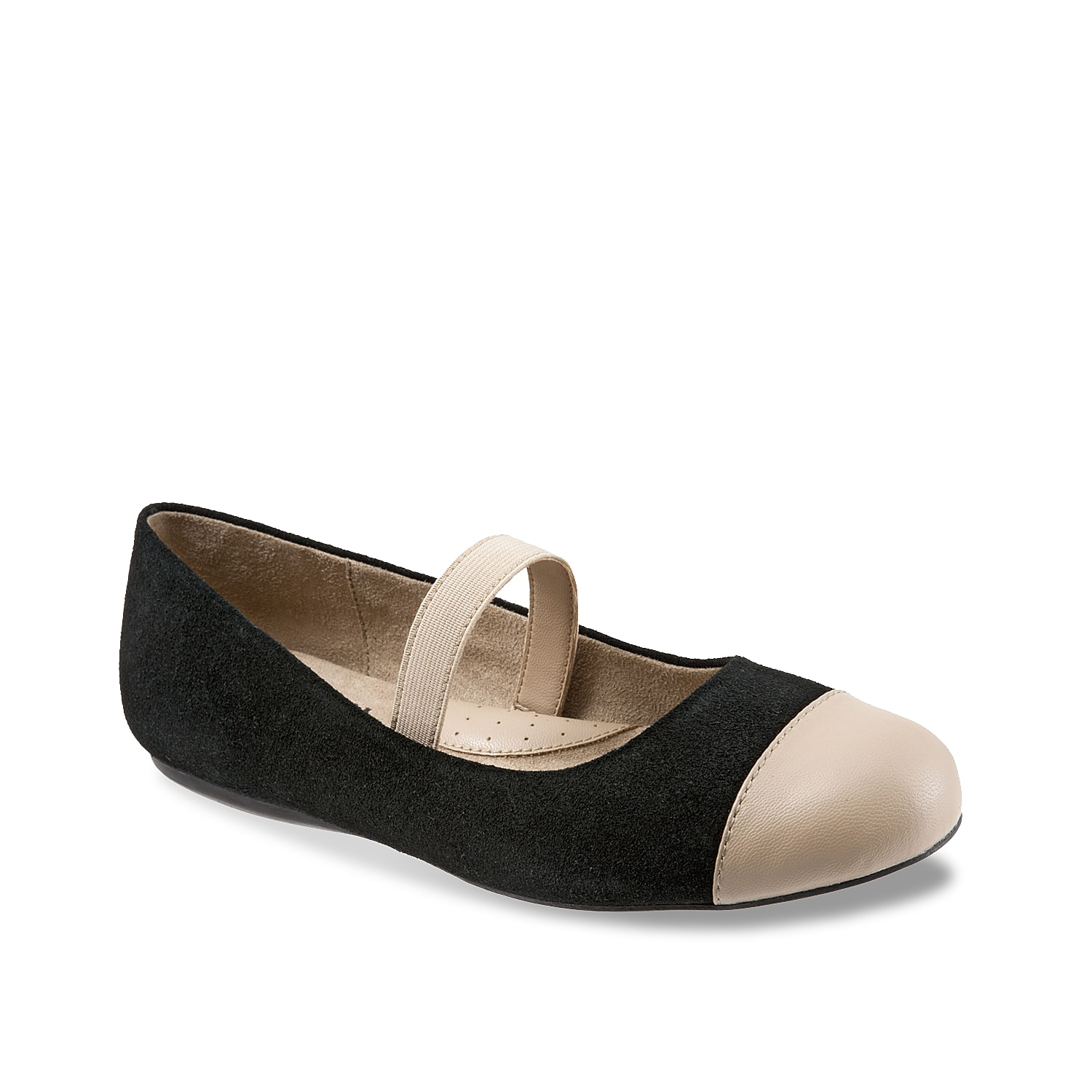 Keep a pair of ballet flats at the front of your closet for endless style transformations! The Softwalk Napa slip-on is fashioned with a simple cap toe and an elasticized Mary Jane strap.