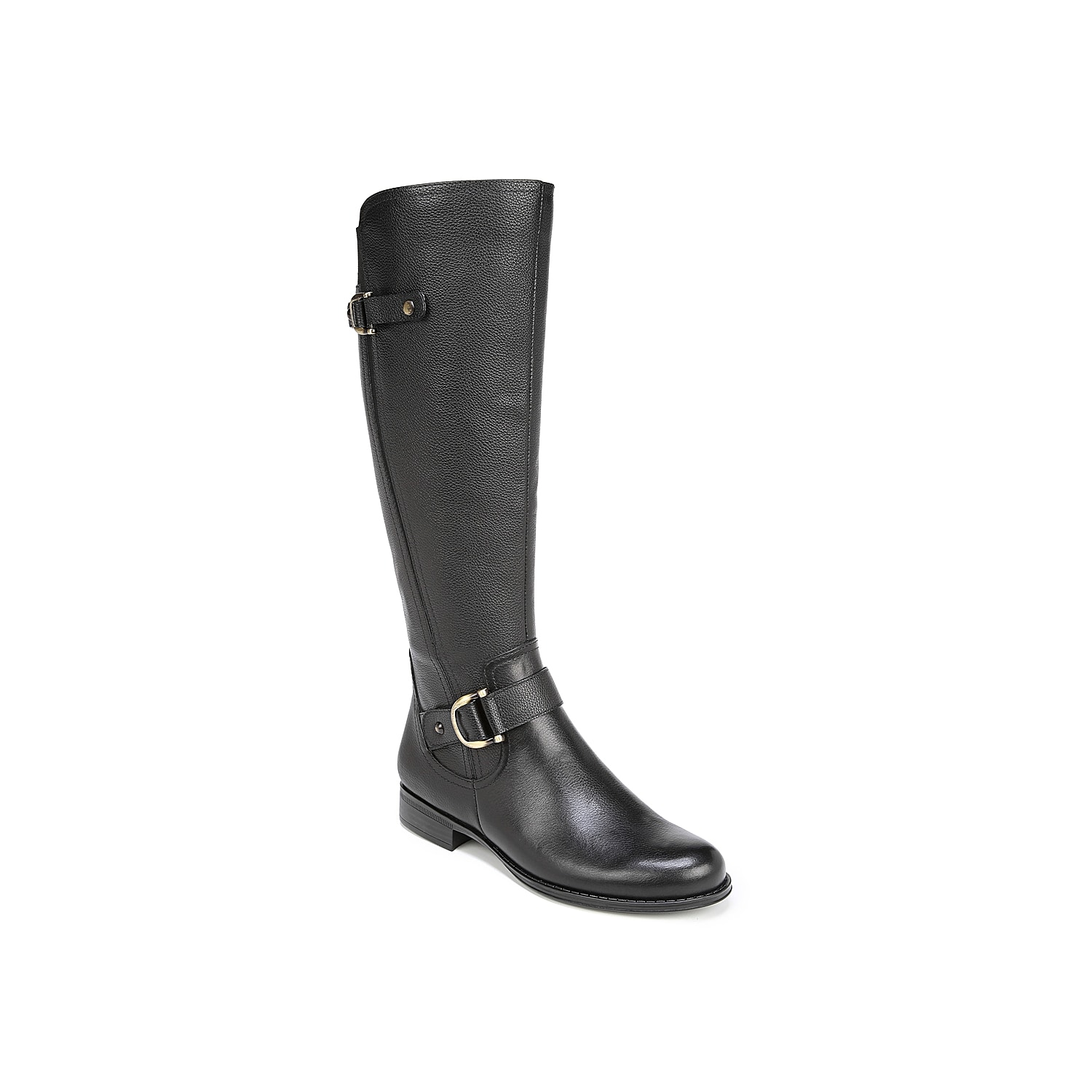 The Jillian riding boot from Naturalizer is a versatile tall pair that\\\'s styled with an asymmetric buckle across the vamp and extra polish on the toe. These knee high boots are ready to go with your favorite frayed jeans and a cozy flannel. Click here for Boot Measuring Guide.