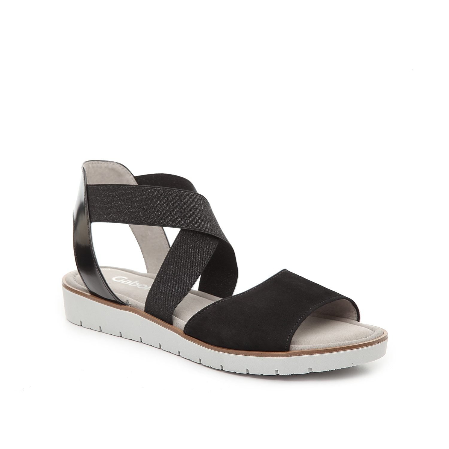 Find the perfect balance of sporty and sweet with the 65572 sandal from Gabor. Colorblock styling and a patent heel strap will add trendy style to your casual look.